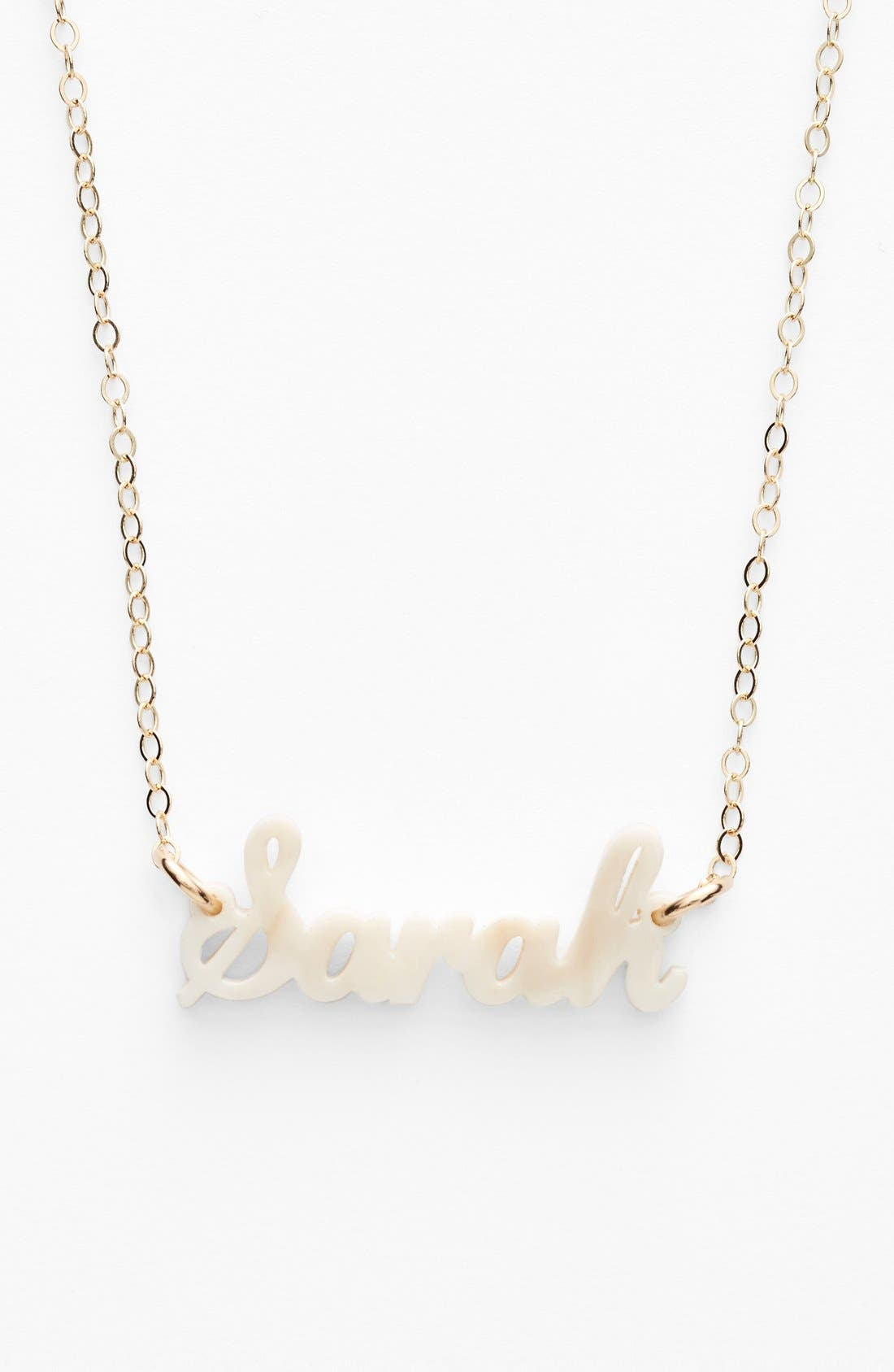 'Script Font' Personalized Nameplate Pendant Necklace,                         Main,                         color, Blonde Tortoise/ Gold