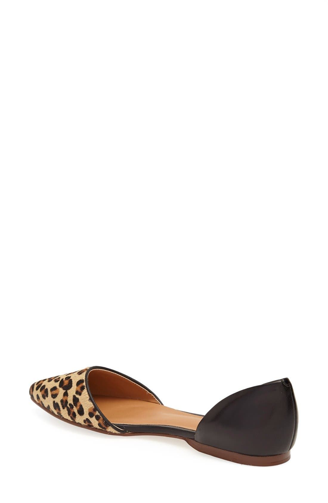 'Kayla' Leather & Calf Hair Pointy Toe Flat,                             Alternate thumbnail 2, color,                             Tan Leopard Combo