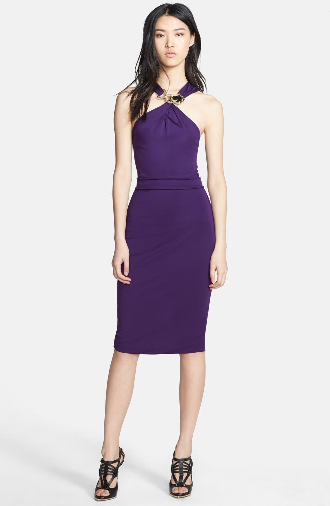 Alternate Image 1 Selected - Roberto Cavalli Hardware Detail Halter Dress