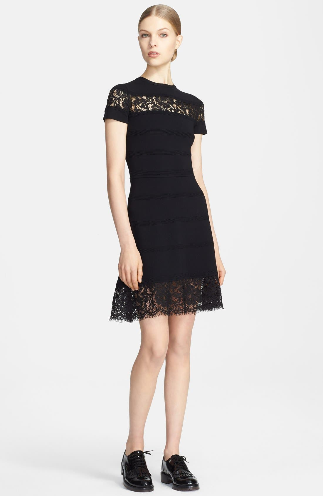 Main Image - Valentino Lace Inset Ottoman Stripe Fit & Flare Dress