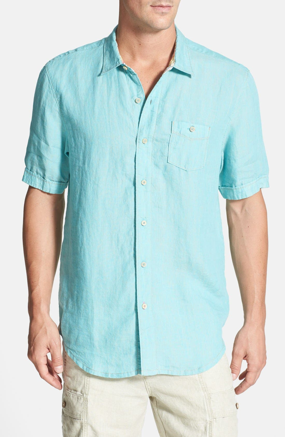 Alternate Image 1 Selected - Tommy Bahama 'Party Breezer' Short Sleeve Linen Sport Shirt