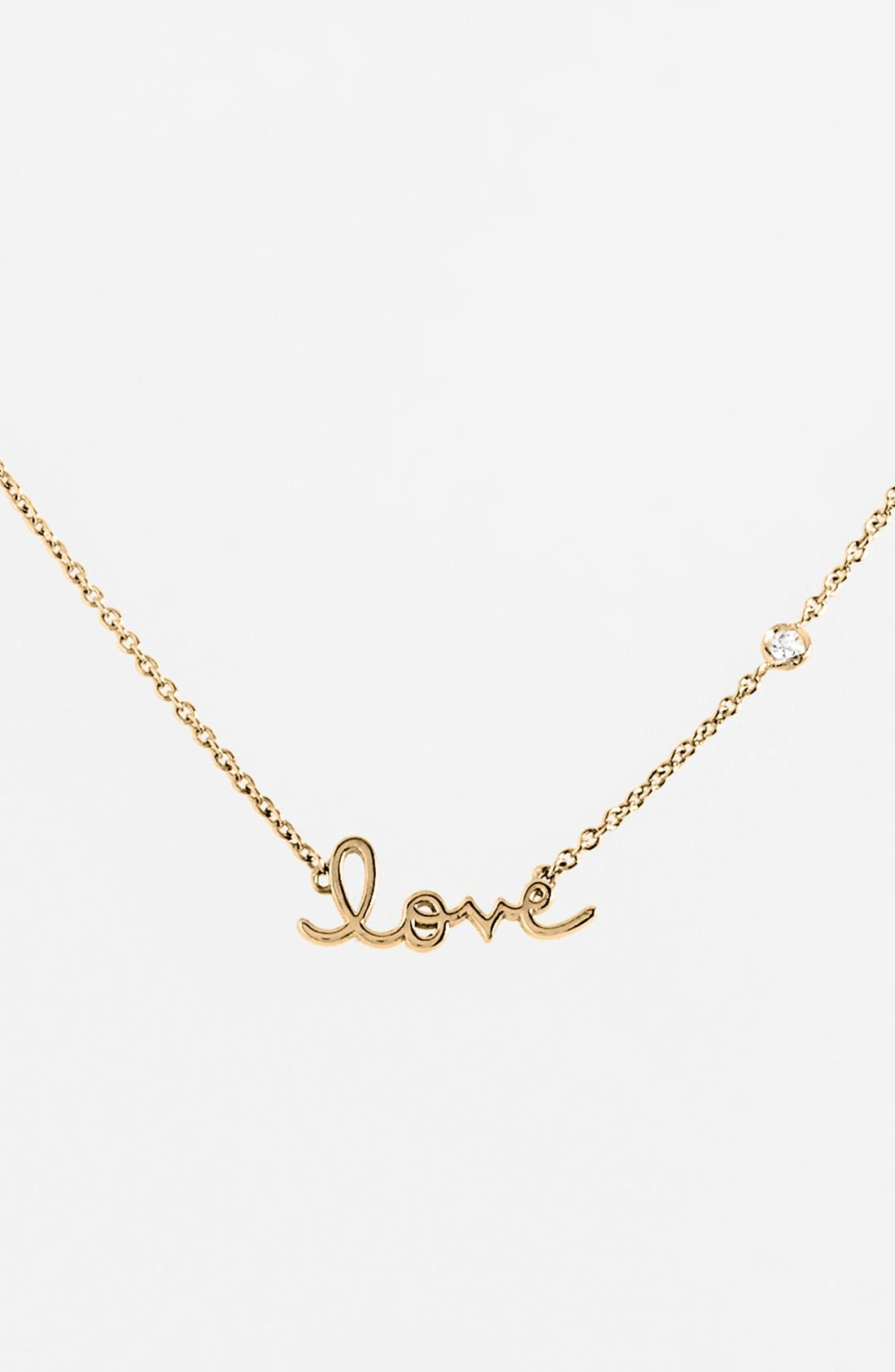 'Love' Necklace,                         Main,                         color, Gold