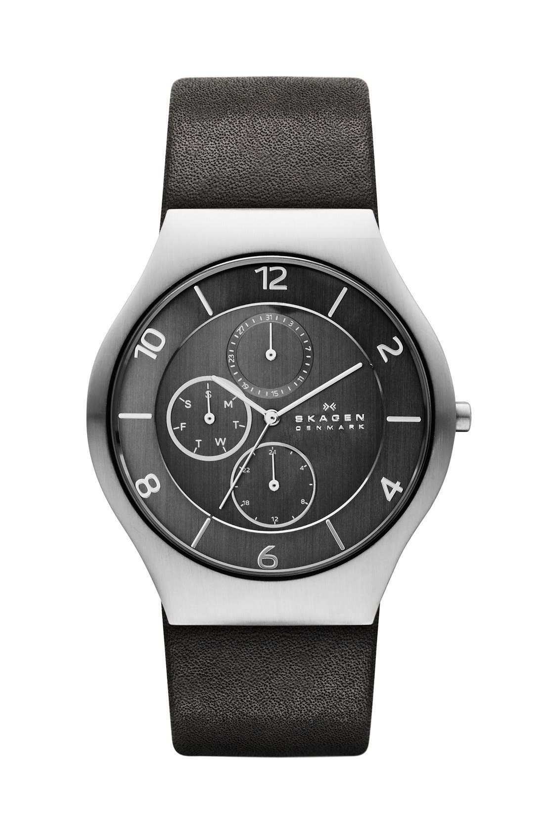 Alternate Image 1 Selected - Skagen 'Grenen' Round Multifunction Leather Strap Watch, 41 mm