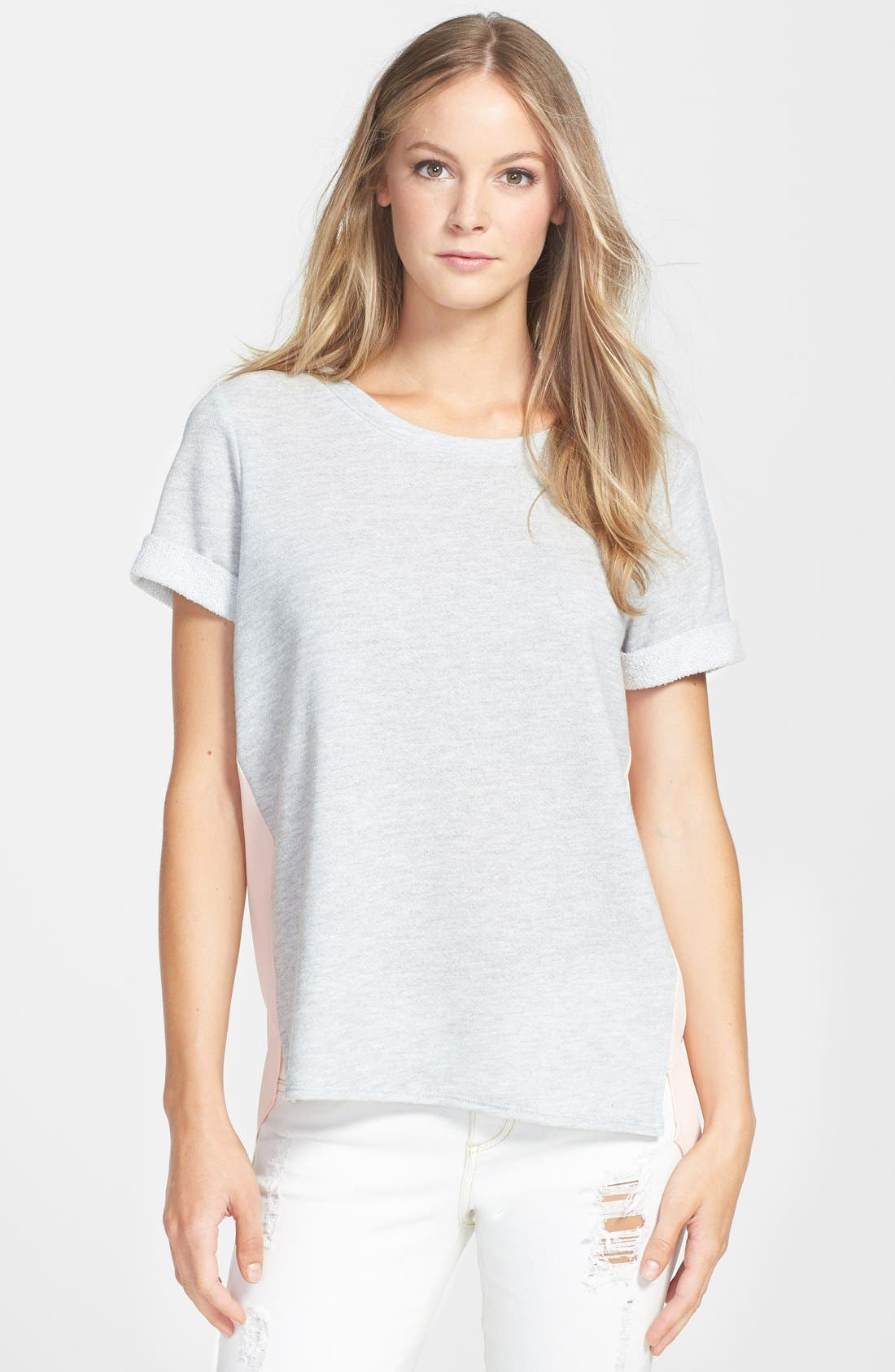 Alternate Image 1 Selected - Olivia Moon Woven Back Sweatshirt