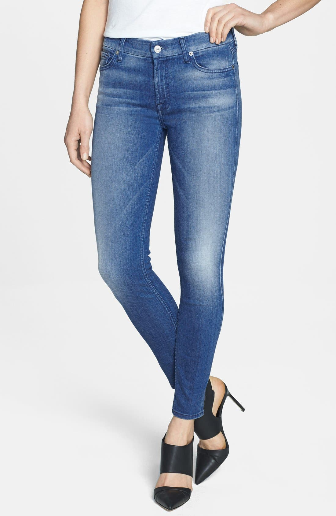 Alternate Image 1 Selected - 7 For All Mankind® 'The Ankle' Skinny Jeans (Slim Illusion Bright Blue)