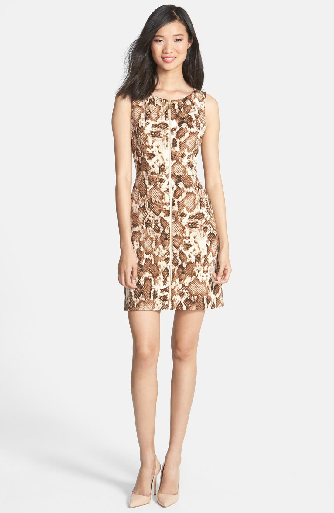 Alternate Image 3  - Vince Camuto Zip Front Snakeskin Print Scuba Dress