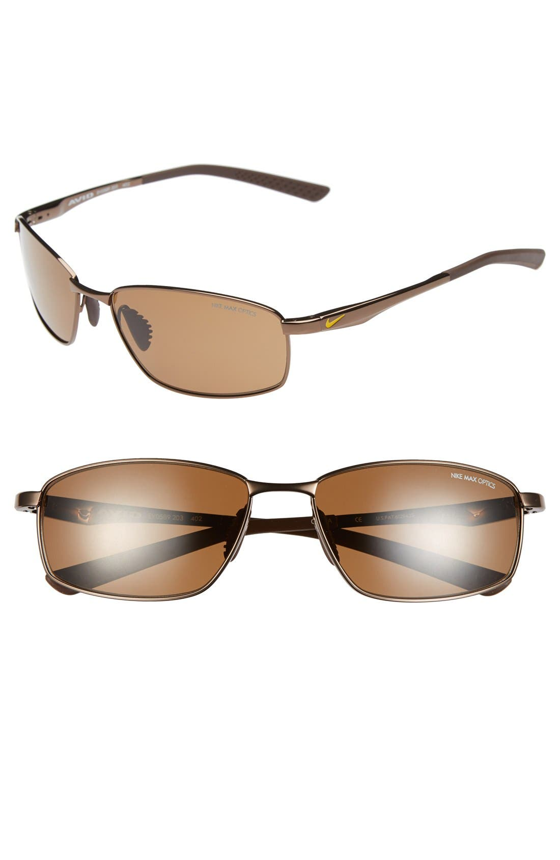 'Avid' 57mm Sunglasses,                             Main thumbnail 1, color,                             Walnut