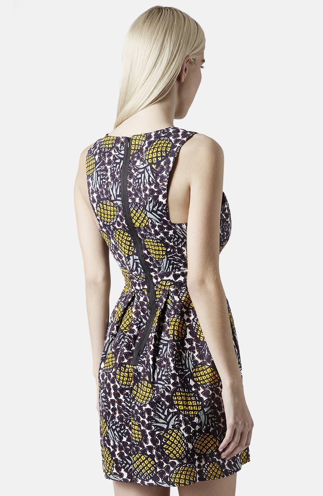 Pineapple Print Cutout Fit & Flare Dress,                             Alternate thumbnail 2, color,                             Yellow Multi