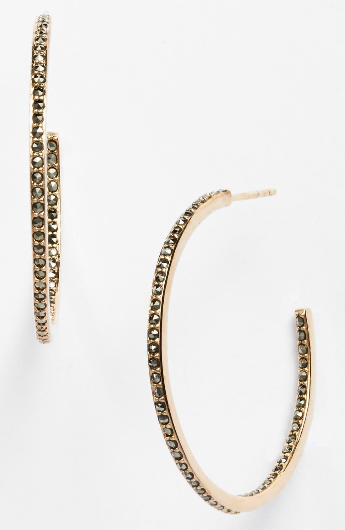Alternate Image 1 Selected - Judith Jack Marcasite Hoop Earrings
