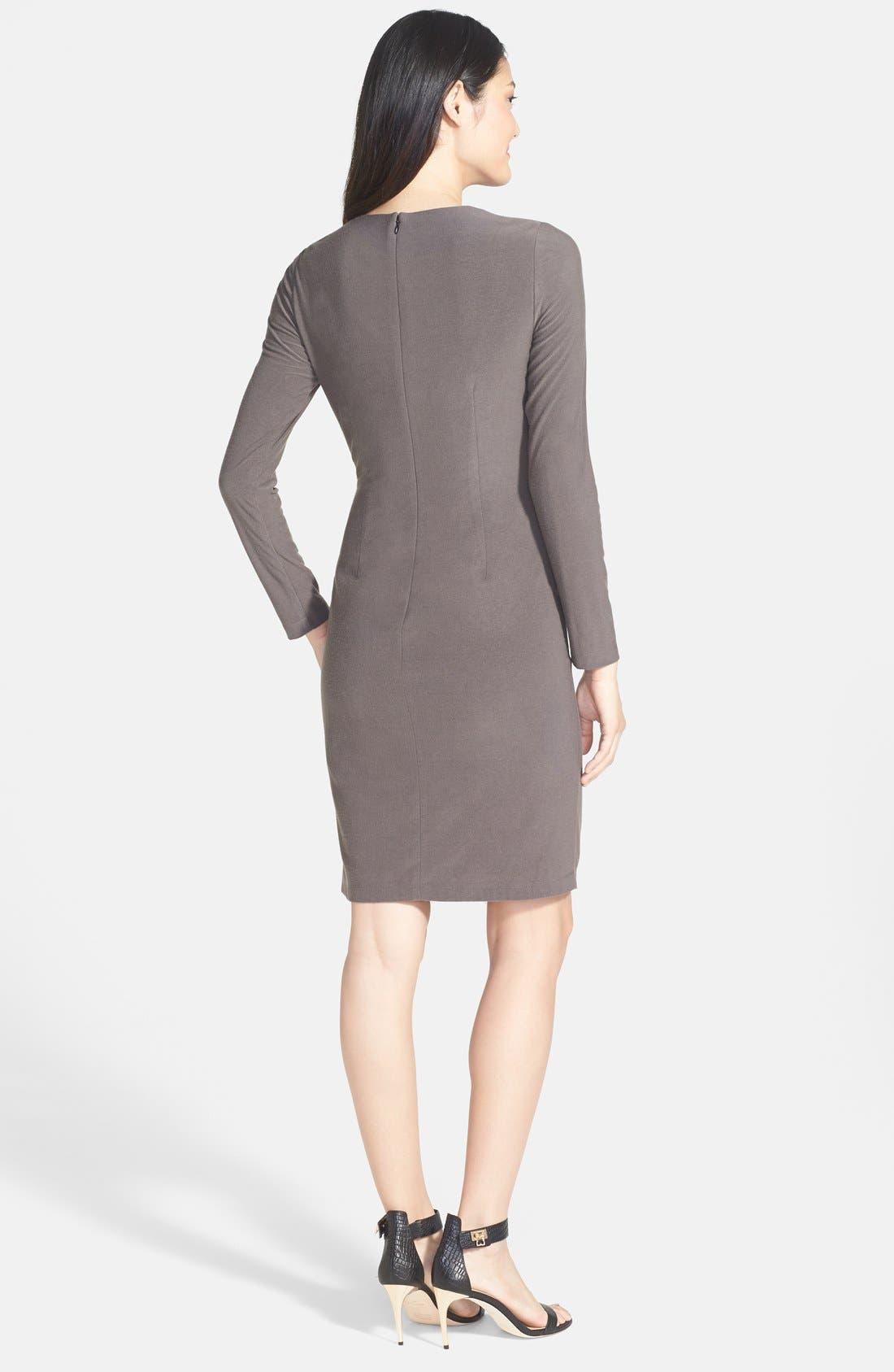Alternate Image 2  - Vince Camuto Faux Leather Panel Ponte Sheath Dress (Regular & Petite)