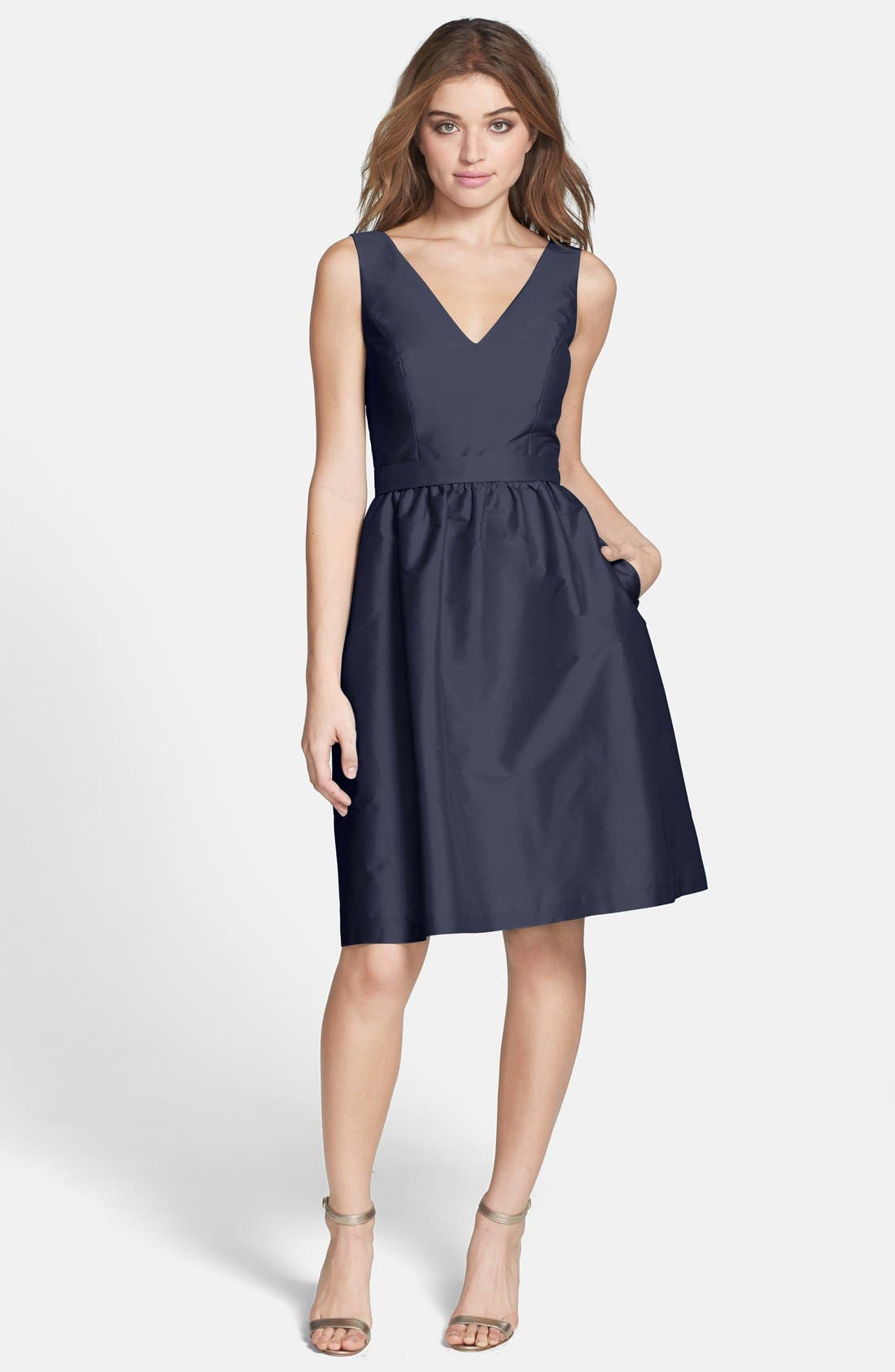 Main Image - Alfred Sung Satin Fit & Flare Dress Dress