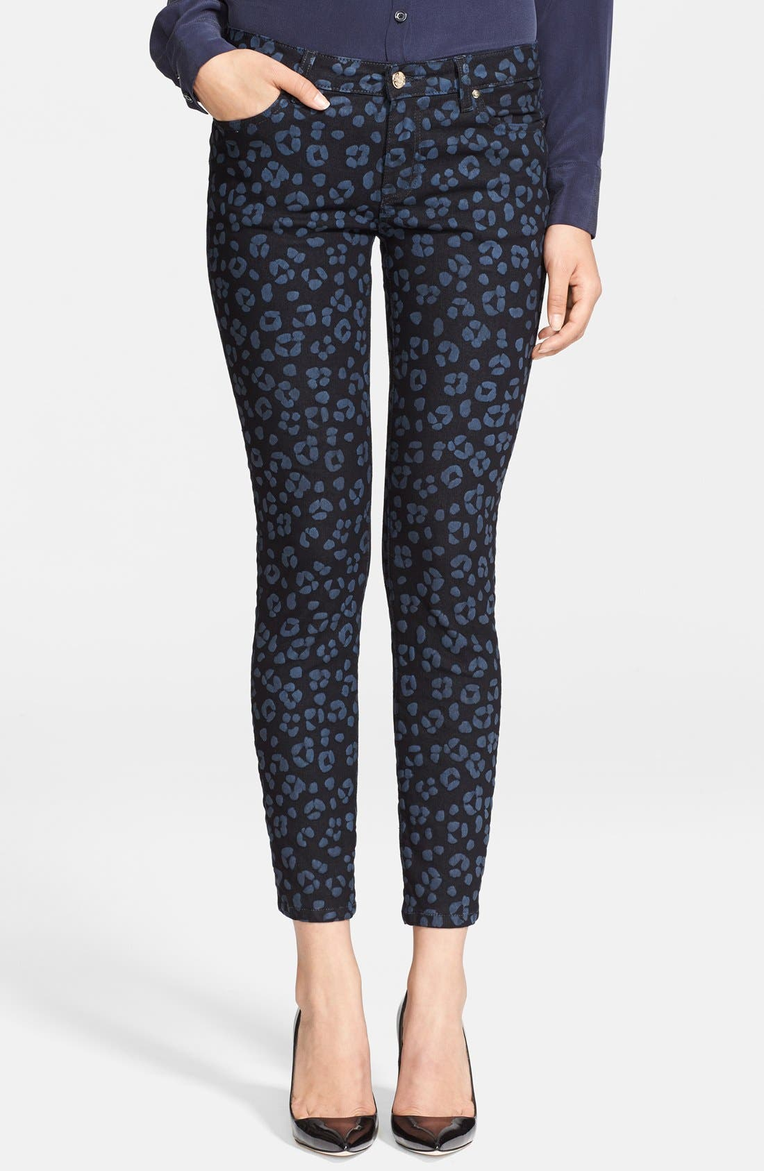 Main Image - kate spade new york 'broome street' cheetah print jeans (black)