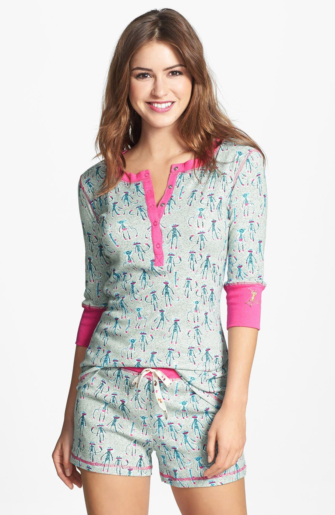 Alternate Image 1 Selected - Munki Munki Print Henley Short Pajamas
