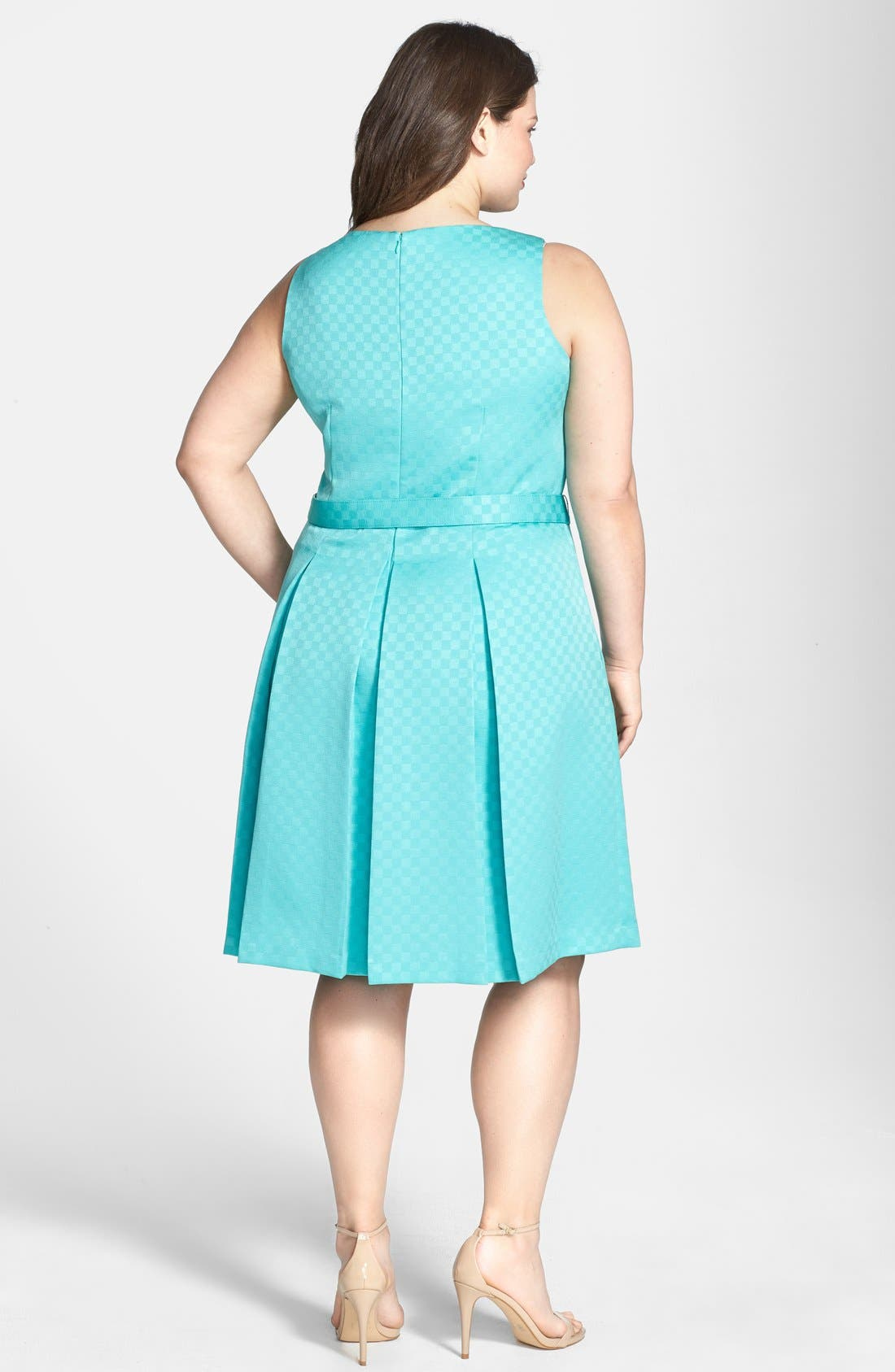 Alternate Image 2  - Tahari Belted Jacquard Pleat Fit & Flare Dress (Plus Size)