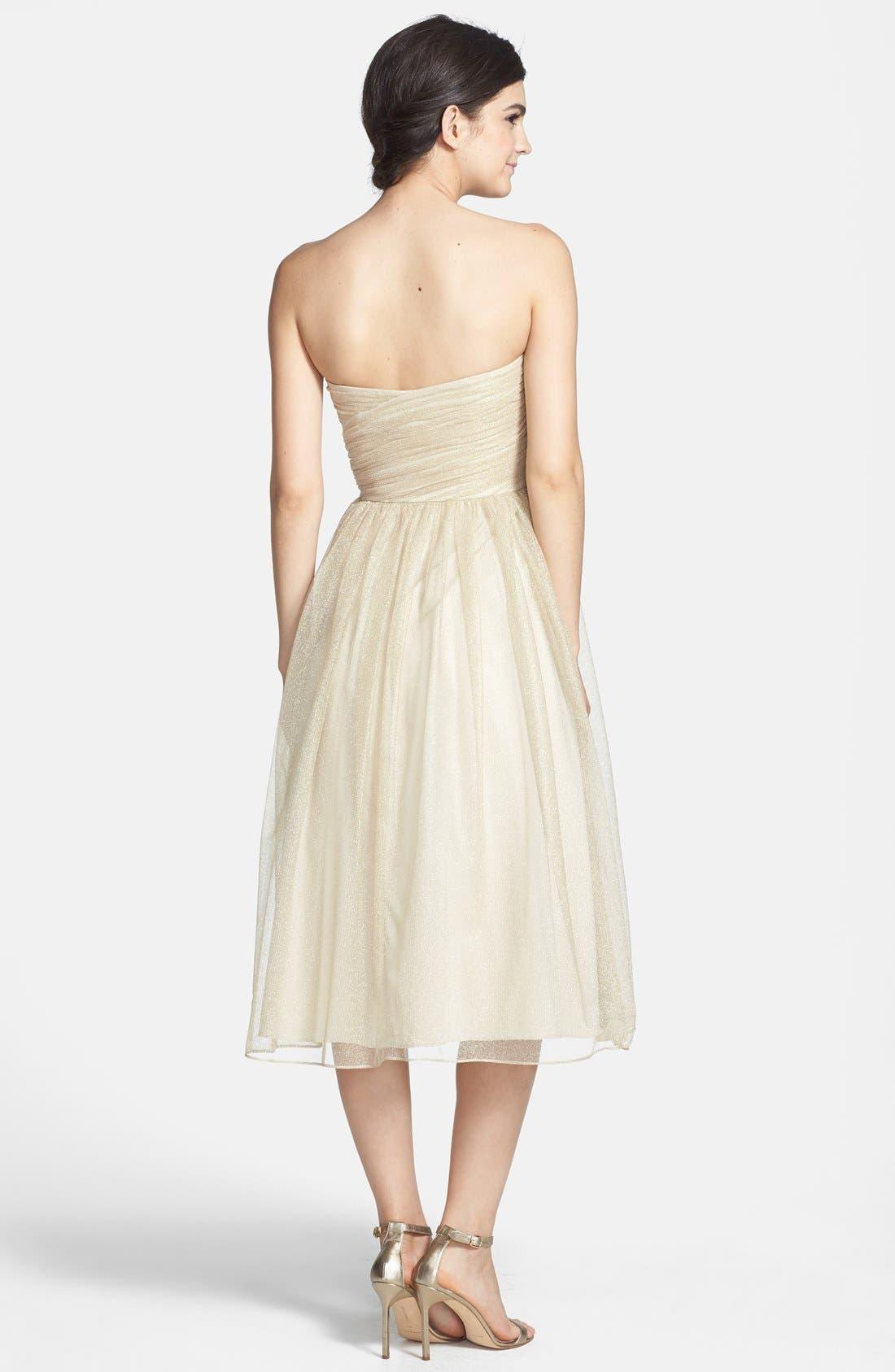 Alternate Image 2  - Aidan Mattox Ruched Metallic Tea Length Tulle Fit & Flare Dress