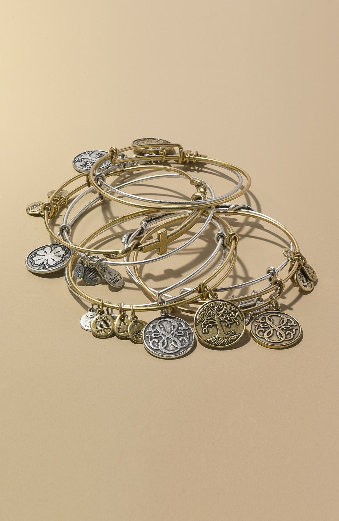 Alternate Image 2  - Alex and Ani 'Four Leaf Clover' Expandable Wire Bracelet