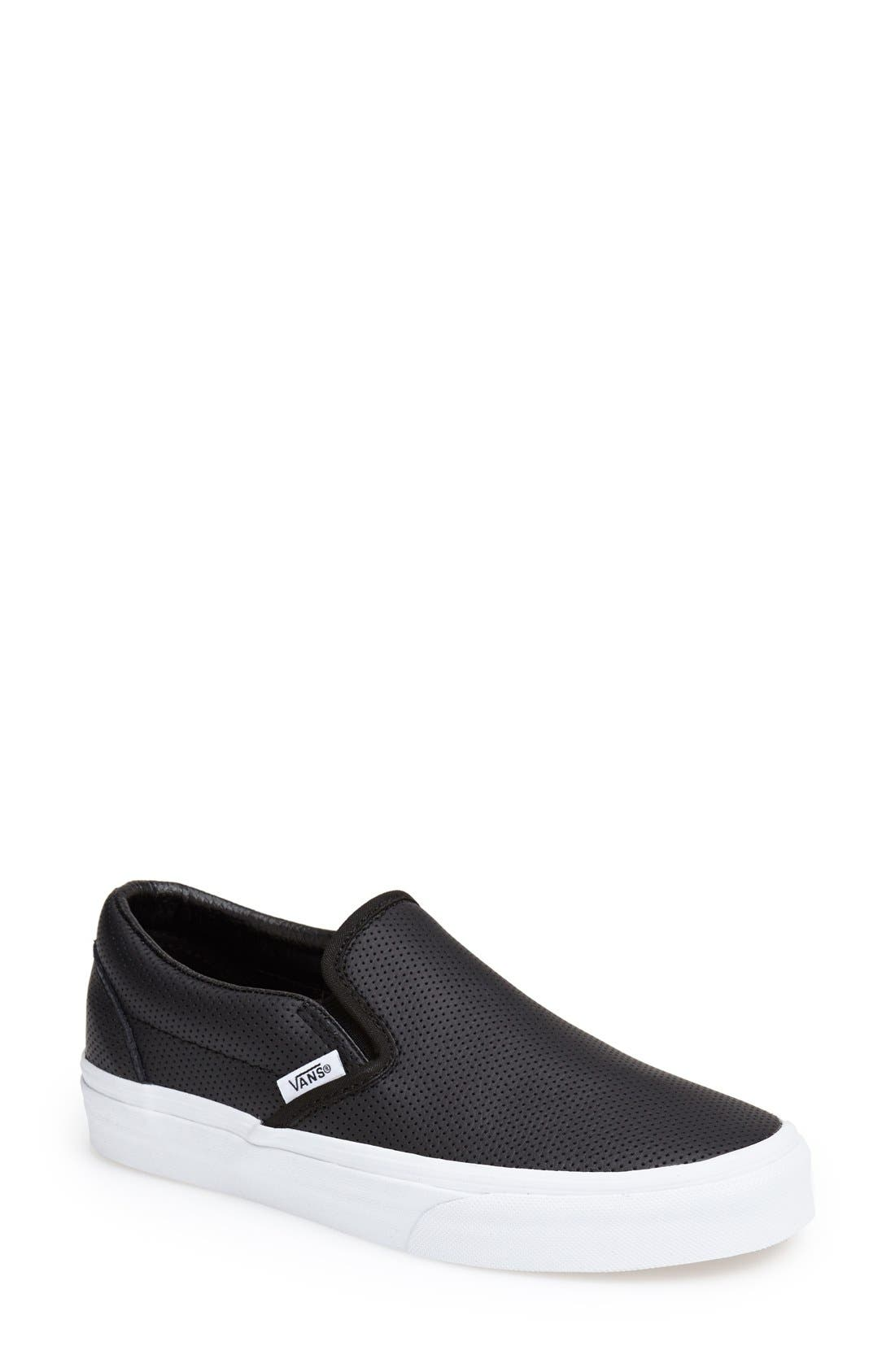 all black leather vans slip ons
