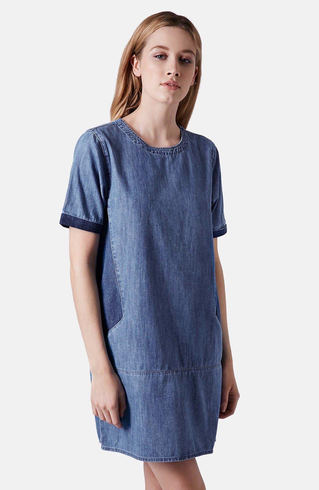 Alternate Image 1 Selected - Topshop Moto Colorblock Denim T-Shirt Dress