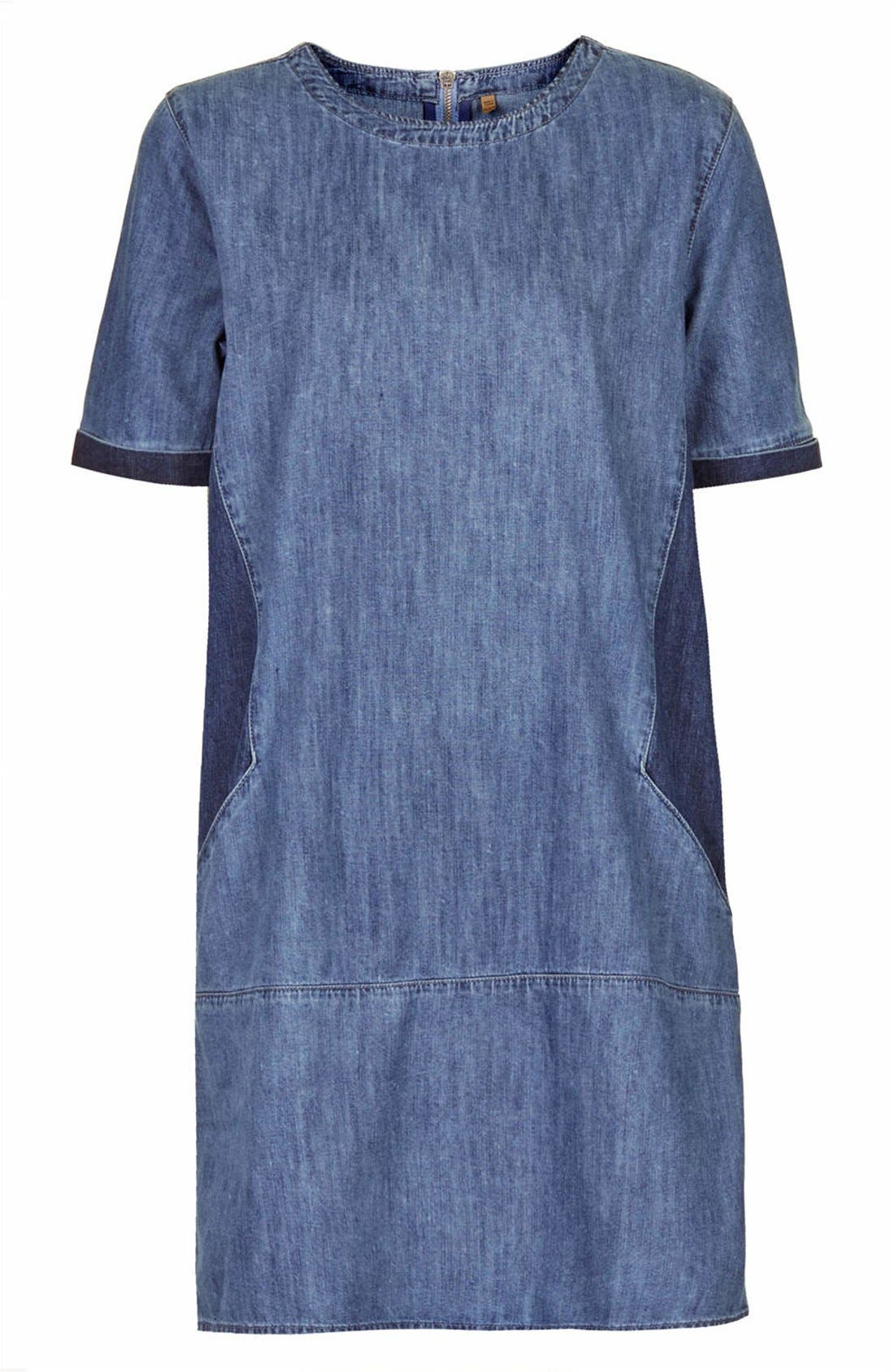 Alternate Image 3  - Topshop Moto Colorblock Denim T-Shirt Dress