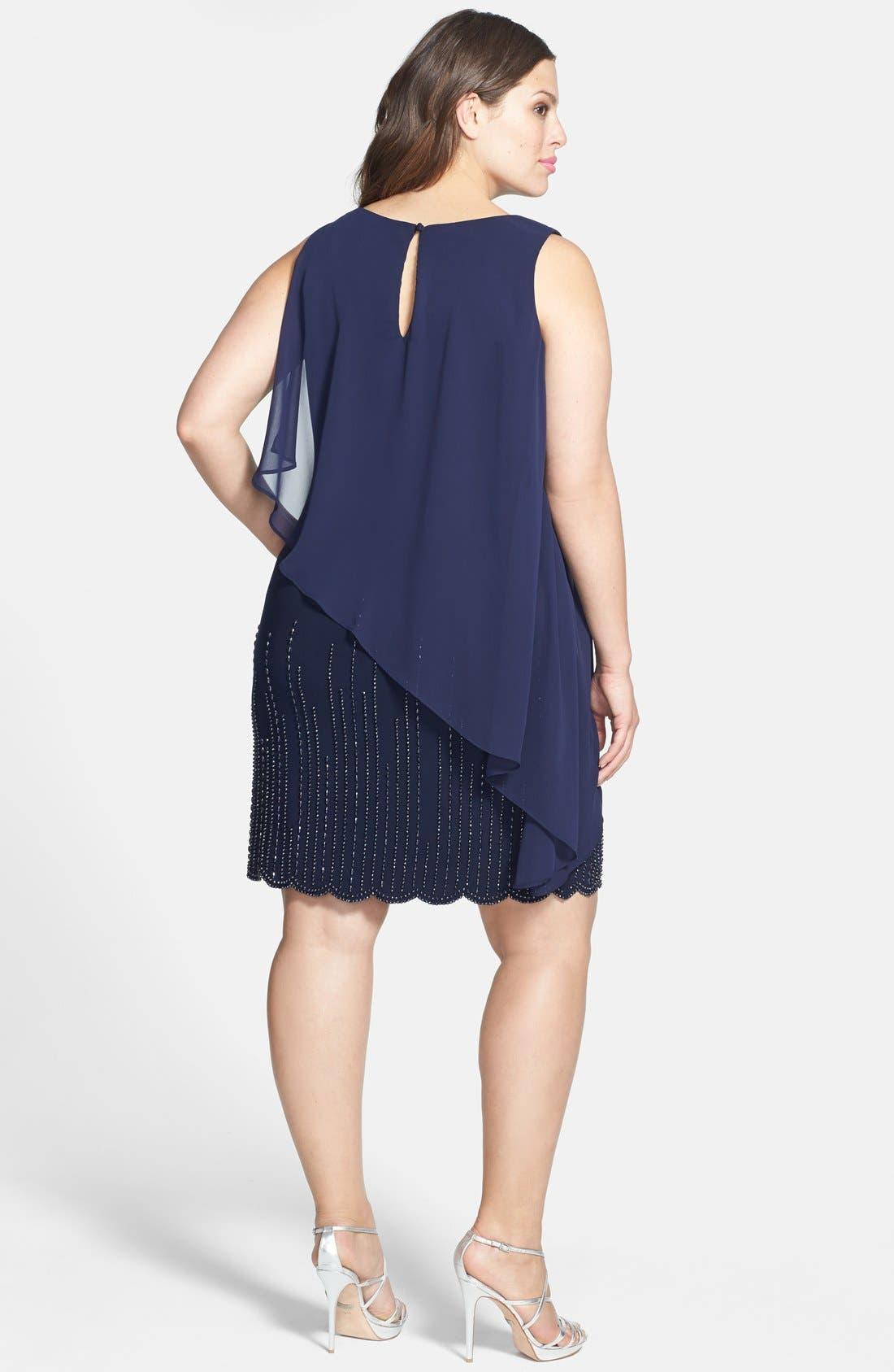 Alternate Image 2  - Xscape Chiffon Overlay Beaded Hem Dress (Plus Size)