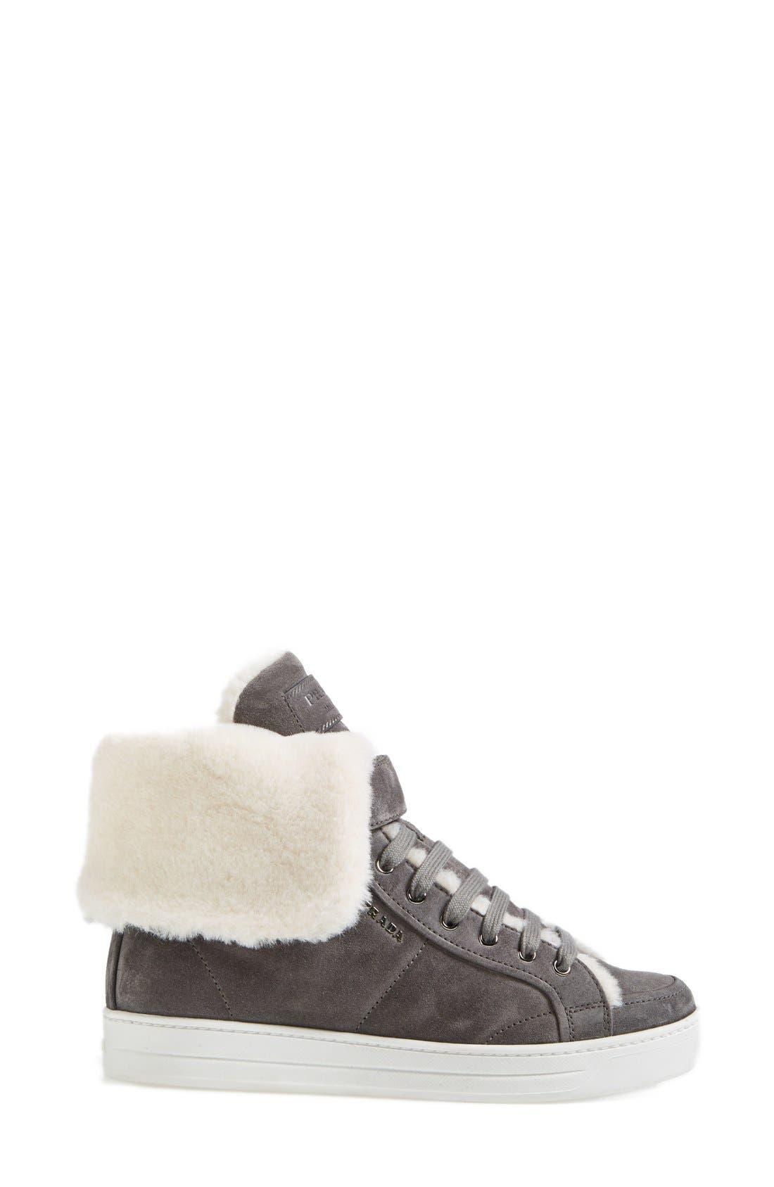 Alternate Image 4  - Prada Faux Shearling Sneaker (Women)