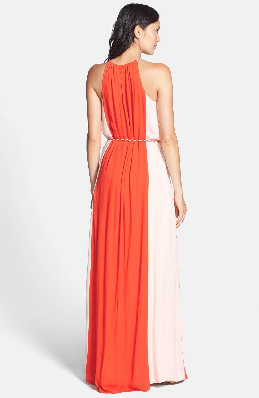 'Stella' Colorblock Maxi Dress,                             Alternate thumbnail 2, color,                             Persimmon