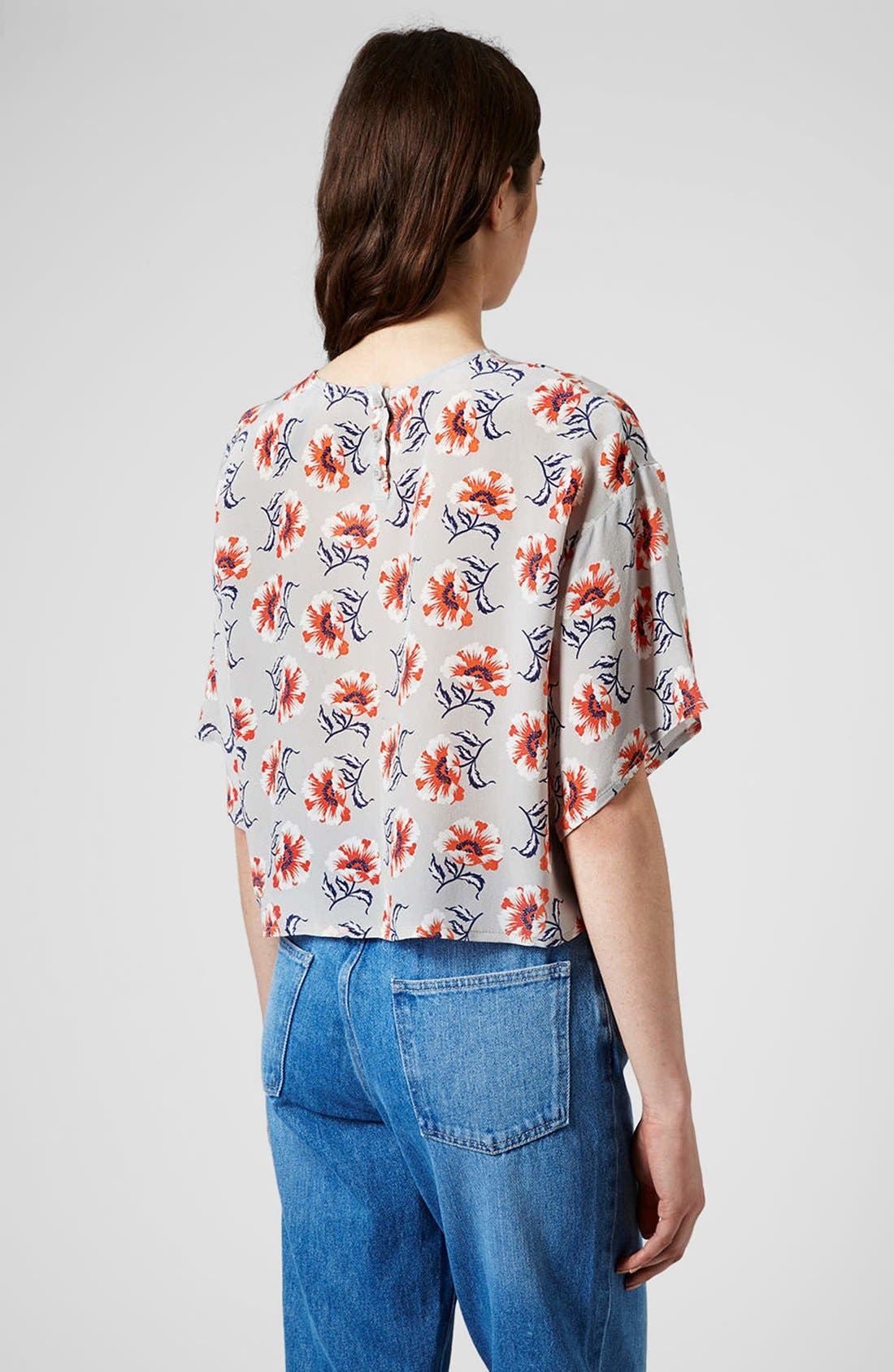 Alternate Image 2  - Topshop Boutique Floral Print Silk Top
