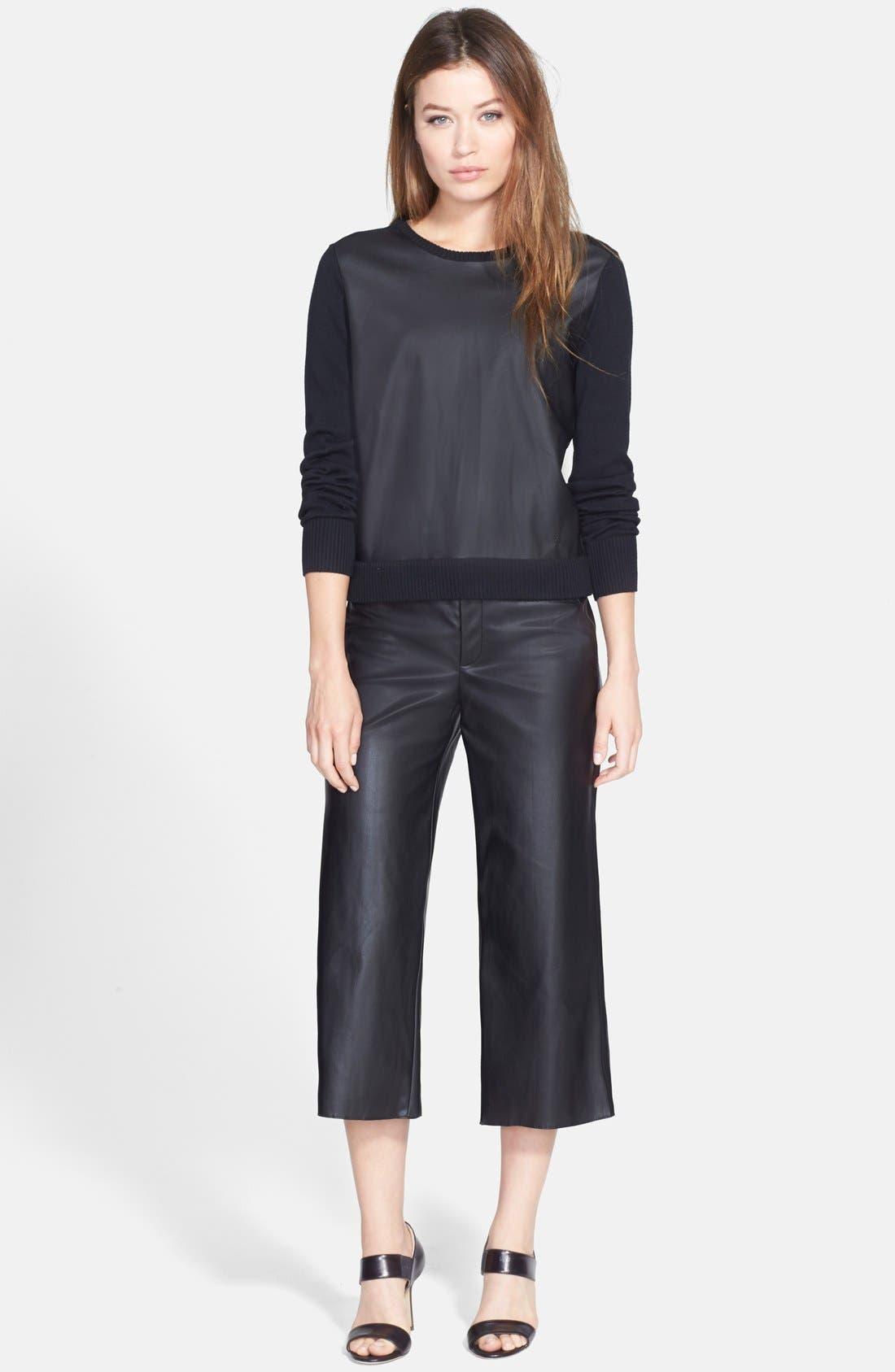 Alternate Image 4  - Pink Tartan Faux Leather Wide Leg Crop Pants