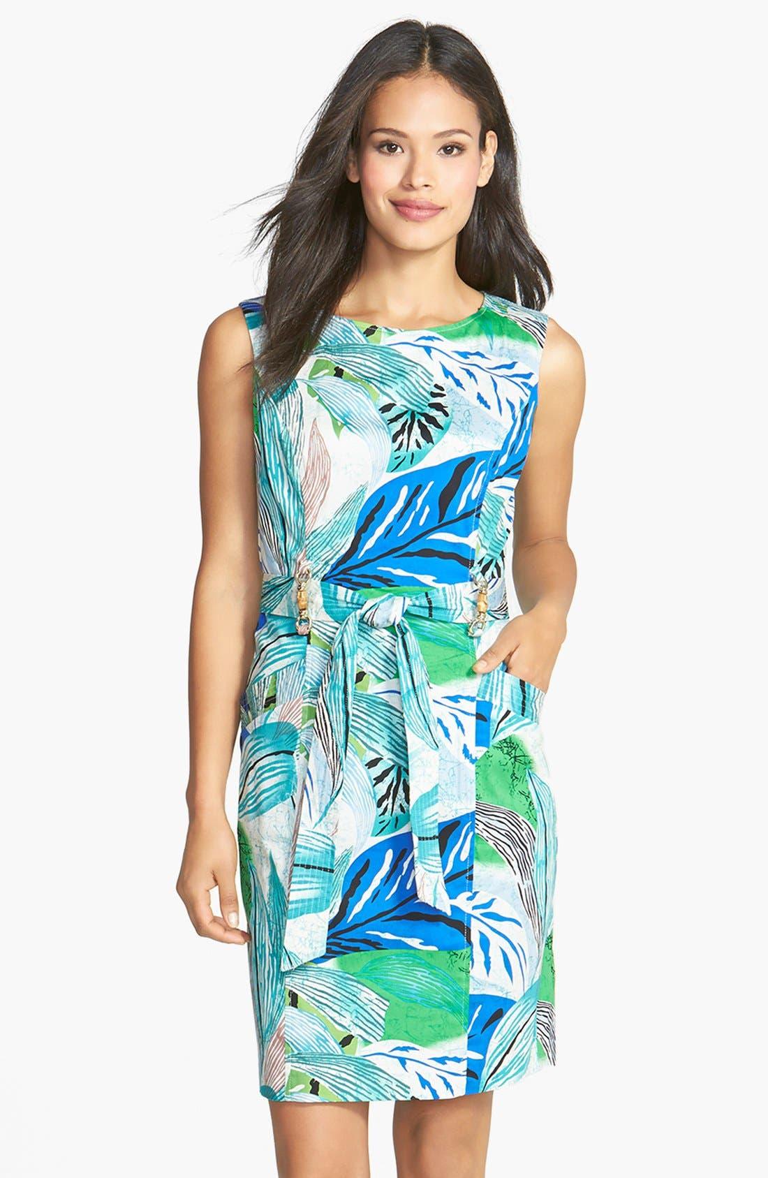 Main Image - Ellen Tracy Bamboo Detail Belted Sheath Dress