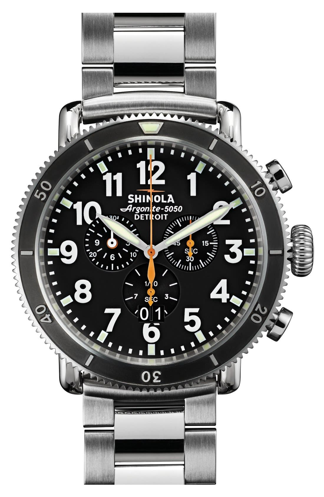 'The Runwell Chrono' Bracelet Watch, 48mm,                             Main thumbnail 1, color,                             Silver/ Black