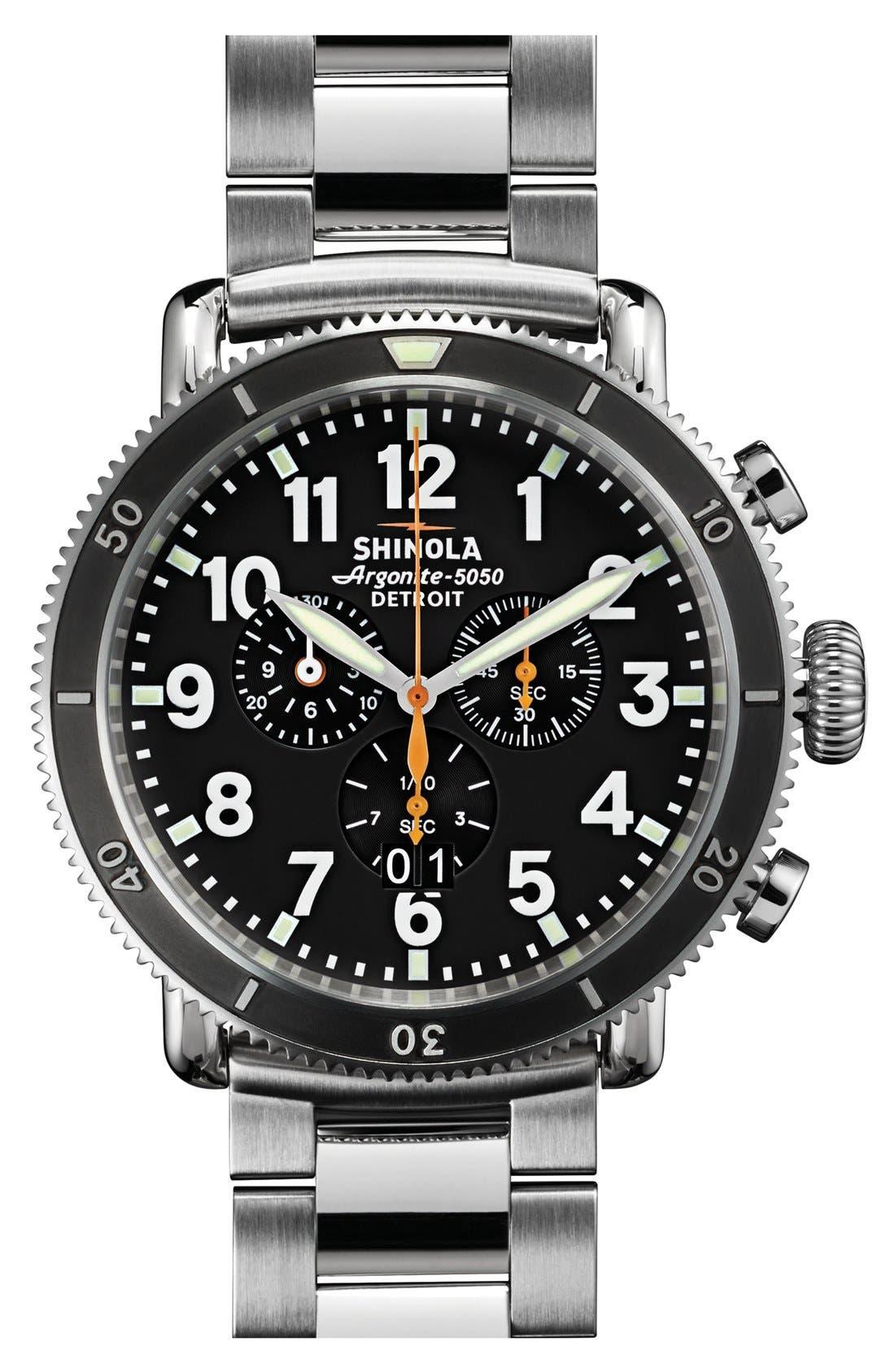 'The Runwell Chrono' Bracelet Watch, 48mm,                         Main,                         color, Silver/ Black