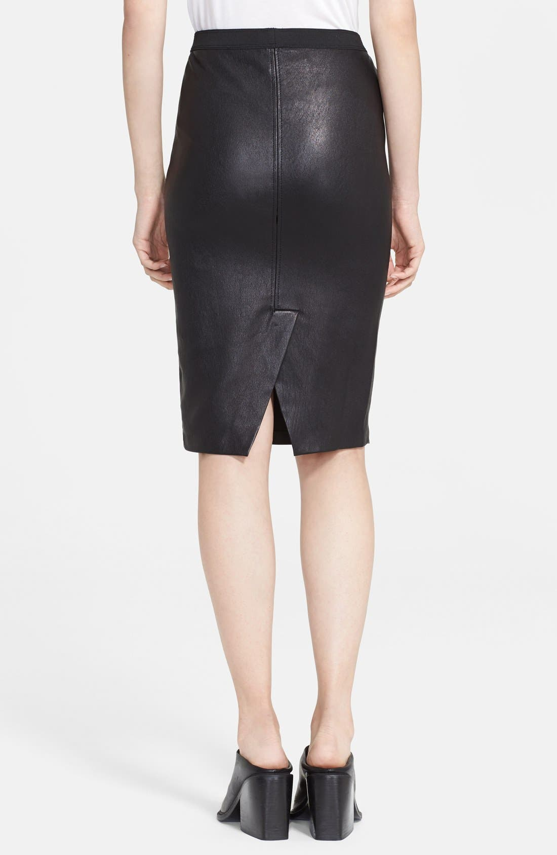 Alternate Image 2  - Helmut Lang Stretch Plonge Leather Skirt