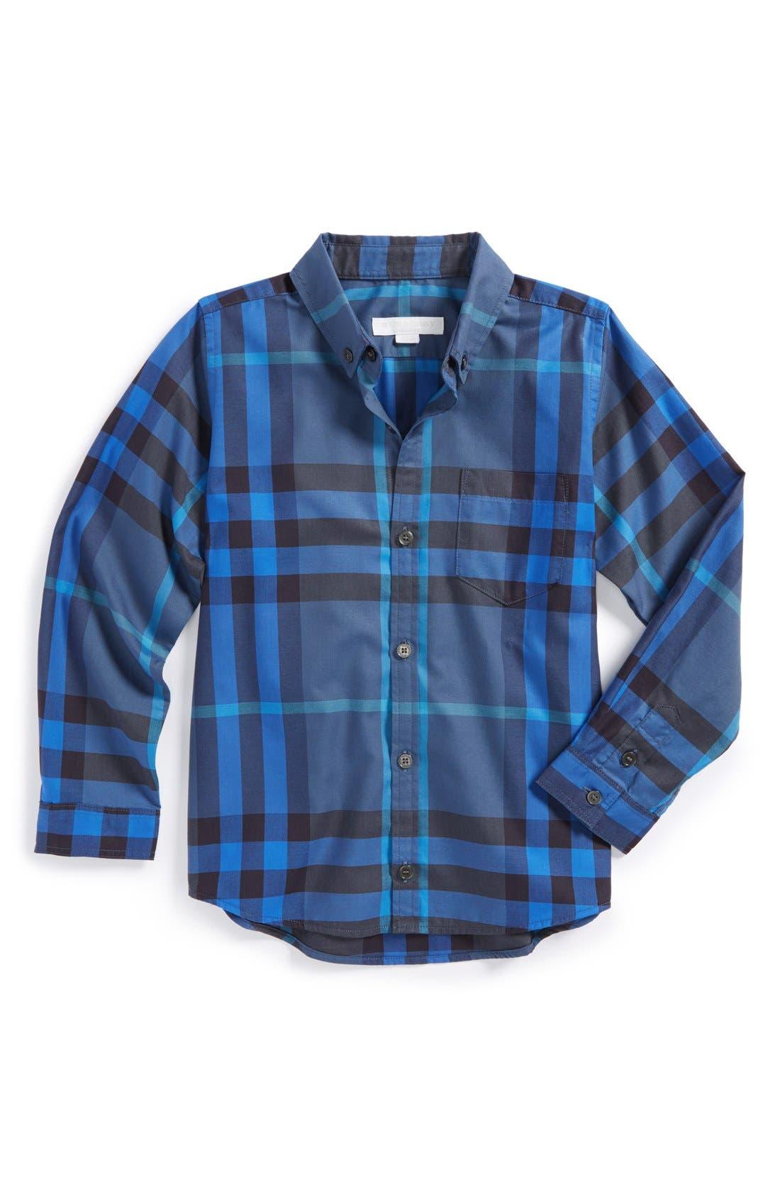 Main Image - Burberry 'Mini Fred' Check Print Woven Shirt (Little Boys & Big Boys)