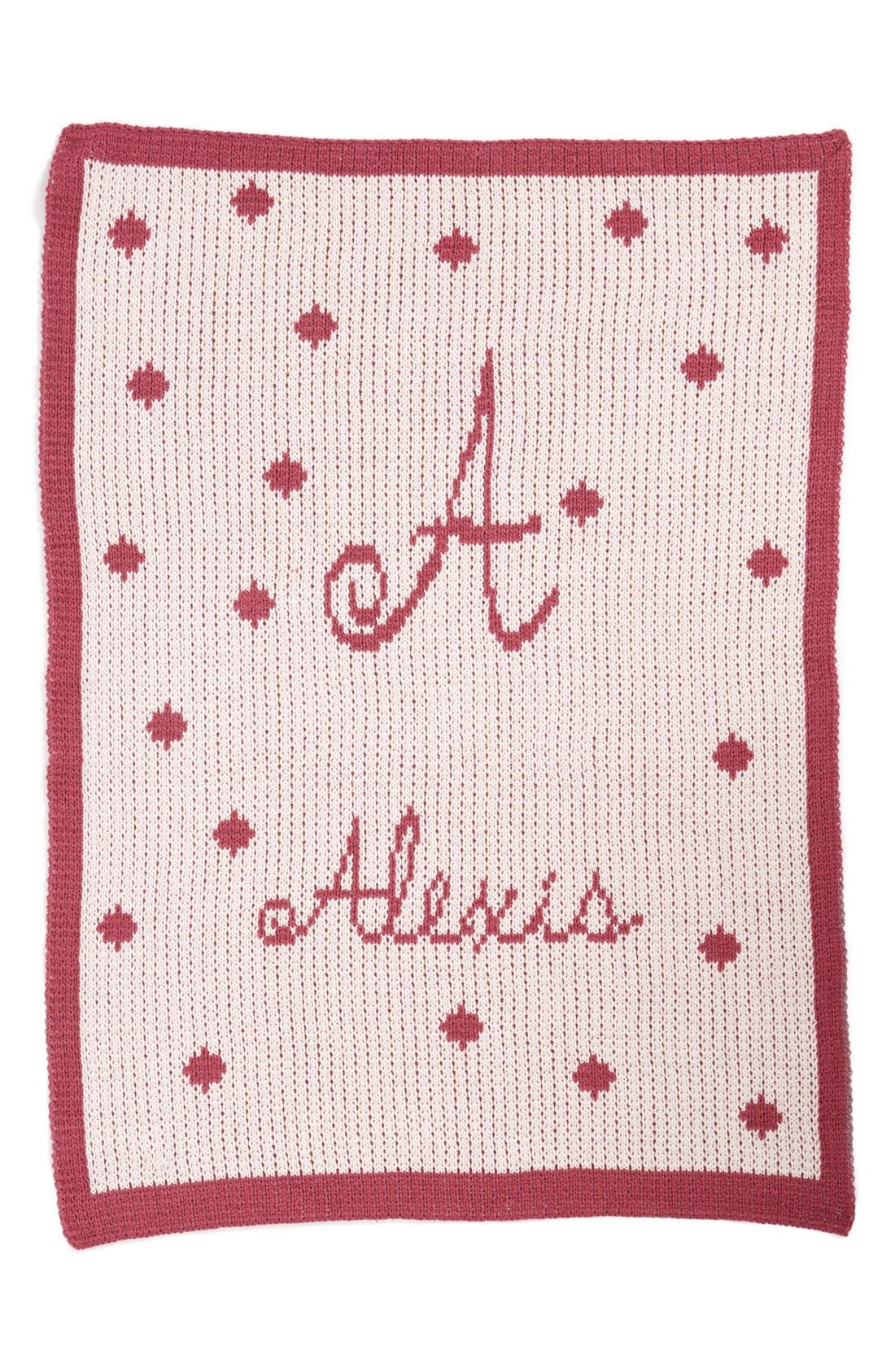 'Polka Dots - Large' Personalized Stroller Blanket,                             Main thumbnail 1, color,                             Pale Pink/ Mulberry