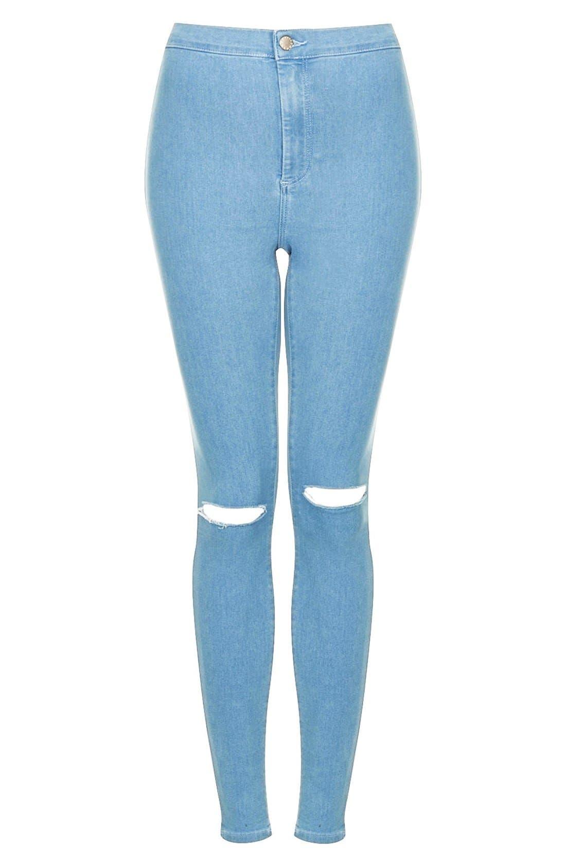 Alternate Image 3  - Topshop Moto 'Joni' Ripped High Rise Skinny Jeans (Light Denim) (Short)