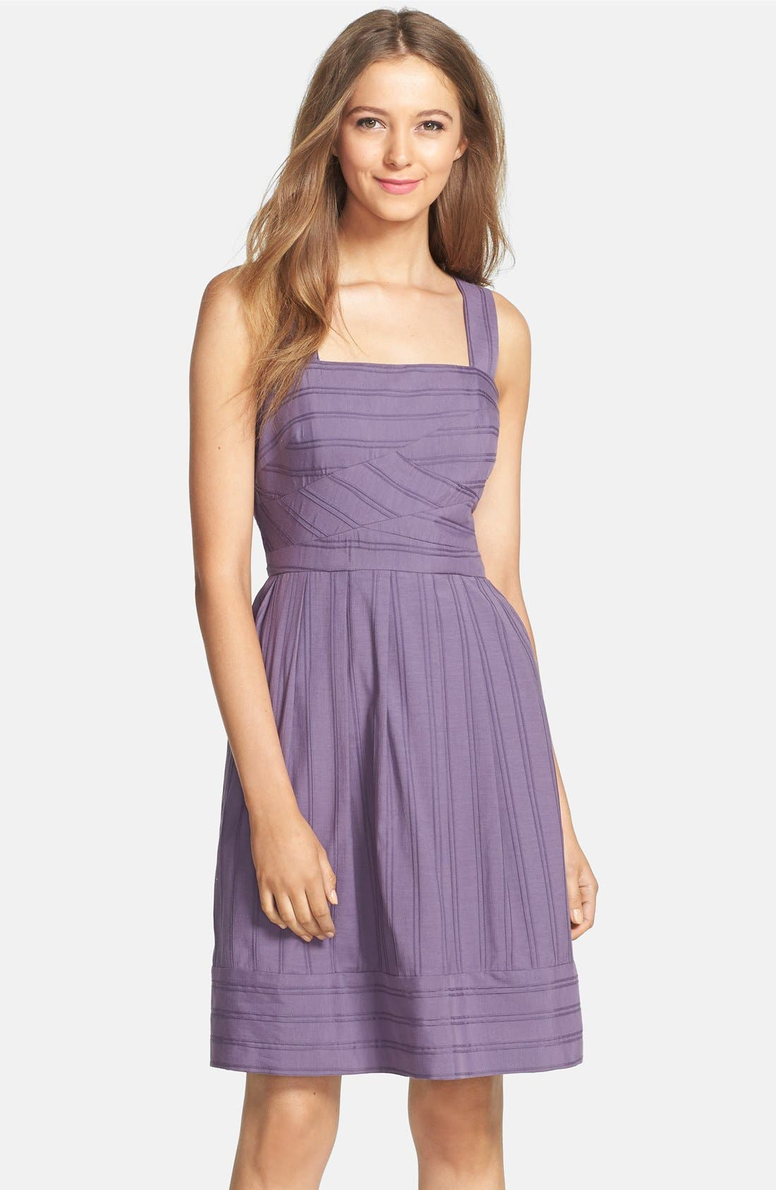 Alternate Image 1 Selected - Ivy & Blu Pintuck Fit & Flare Tank Dress