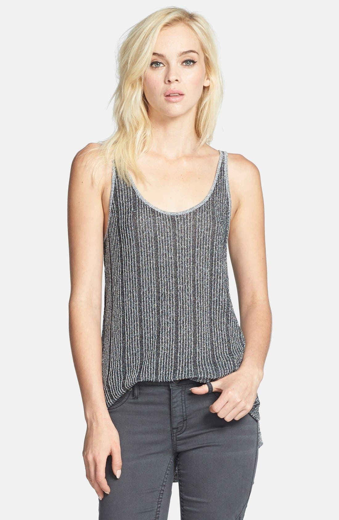 Main Image - Leith Metallic Rib Knit Slouchy Tank