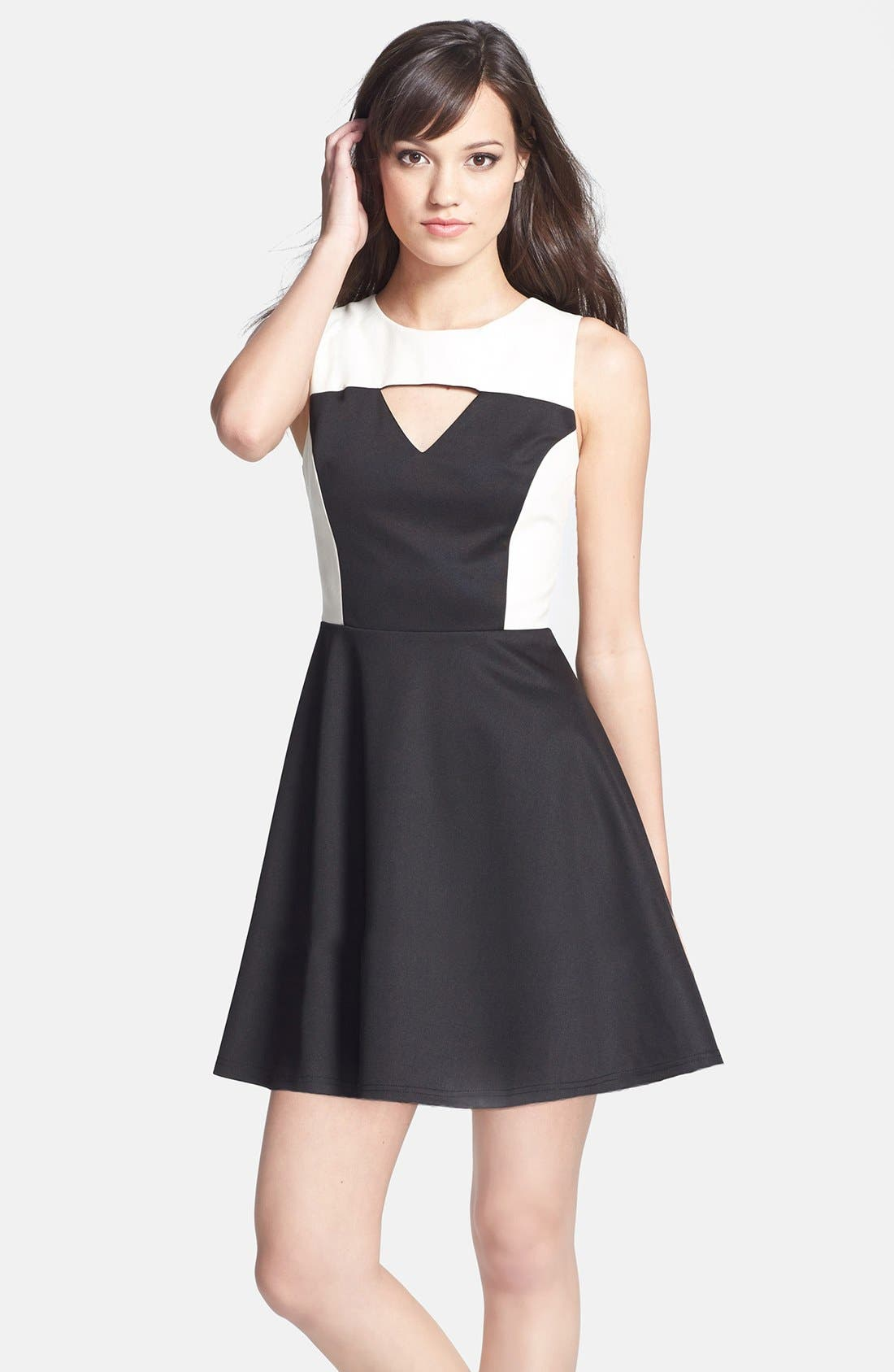 Main Image - MM Couture Cutout Faux Leather Contrast Ponte Knit Fit & Flare Dress