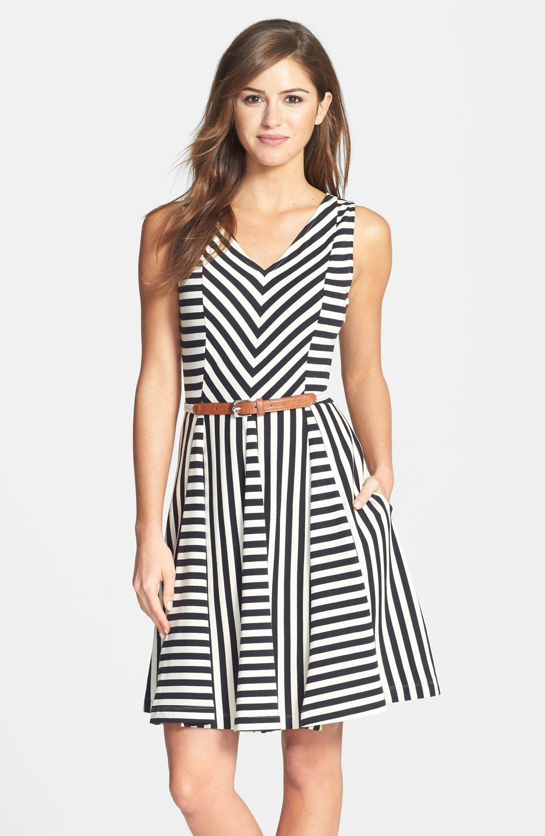 Main Image - Eliza J Sleeveless V-Neck Fit & Flare Dress (Petite)