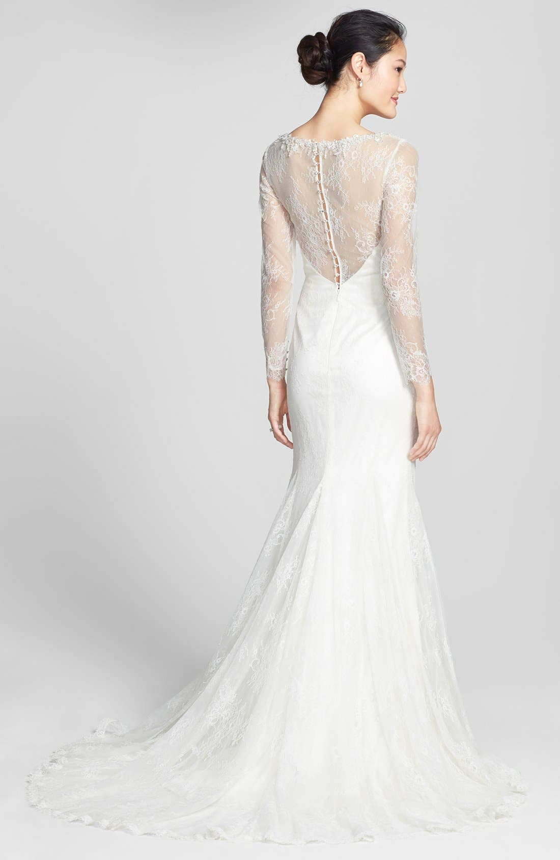 Alternate Image 2  - Badgley Mischka Bridal 'Barbara' Embellished Lace Overlay Trumpet Dress (In Stores Only)
