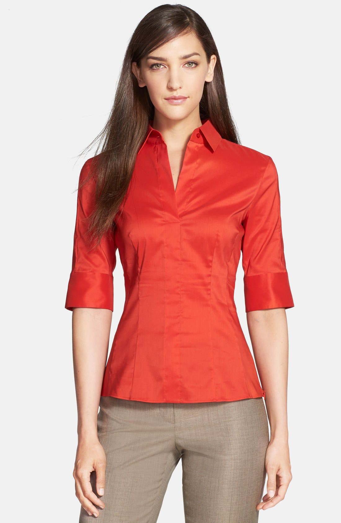 Main Image - BOSS 'Bashini1' Side Zip Poplin Blouse