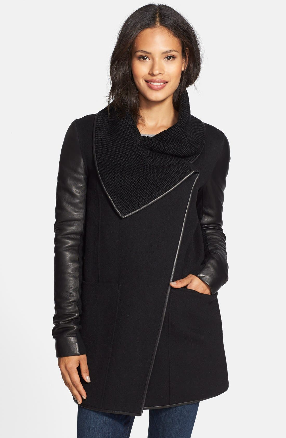 Main Image - Mackage Double Face Wool Blend Coat with Knit Collar & Leather Trim