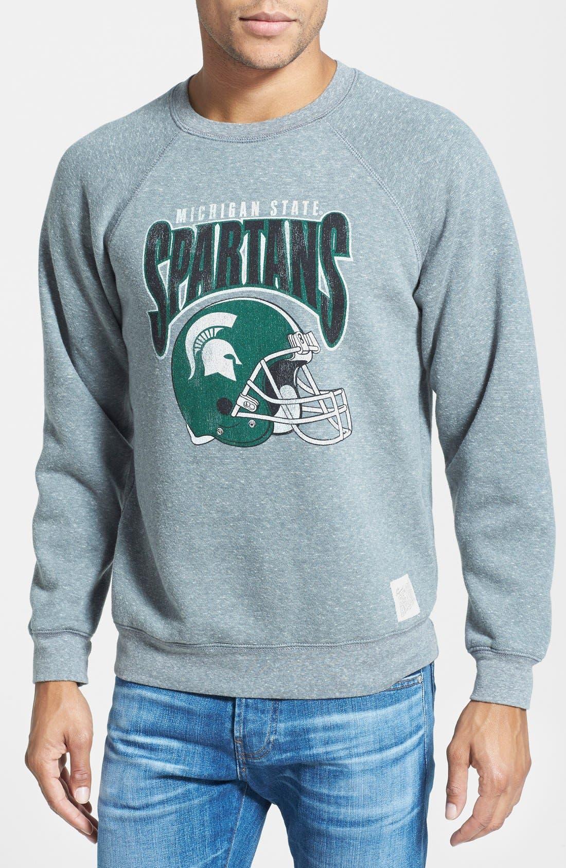 Main Image - Retro Brand 'Michigan State Spartans Football' Slim Fit Raglan Crewneck Sweatshirt