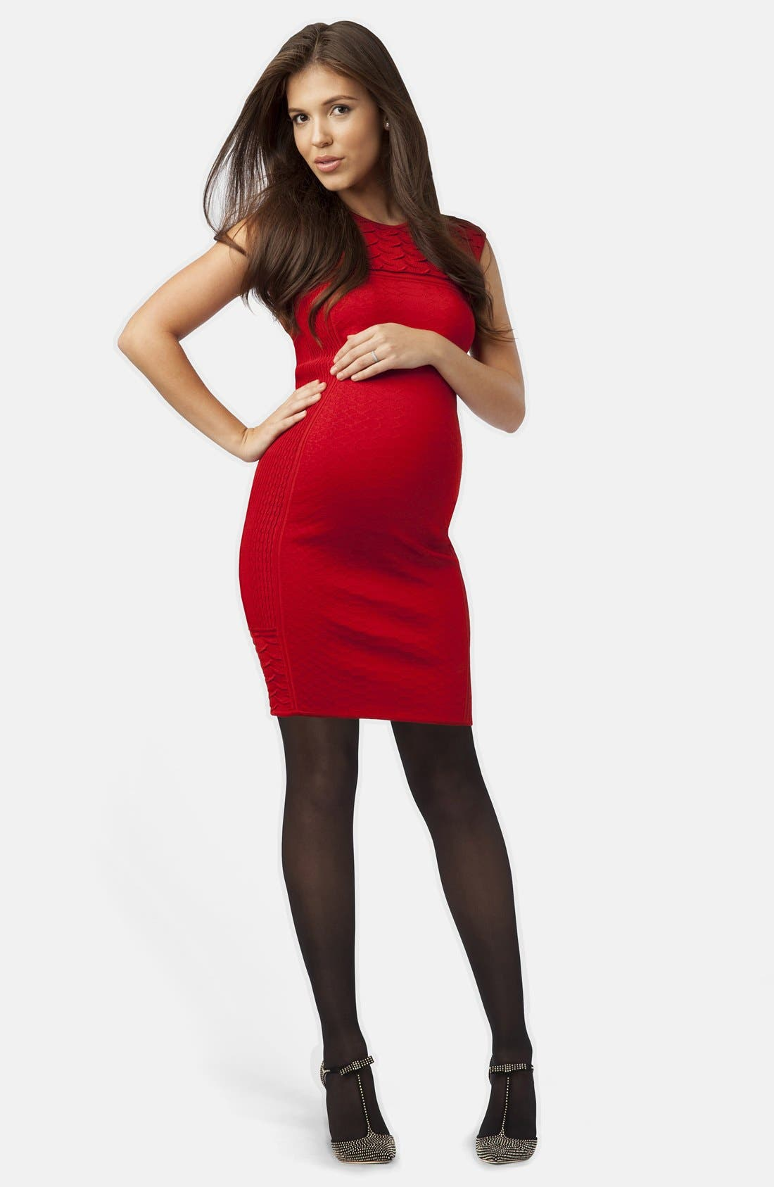 Graduated Compression Maternity Tights,                             Alternate thumbnail 2, color,                             Black