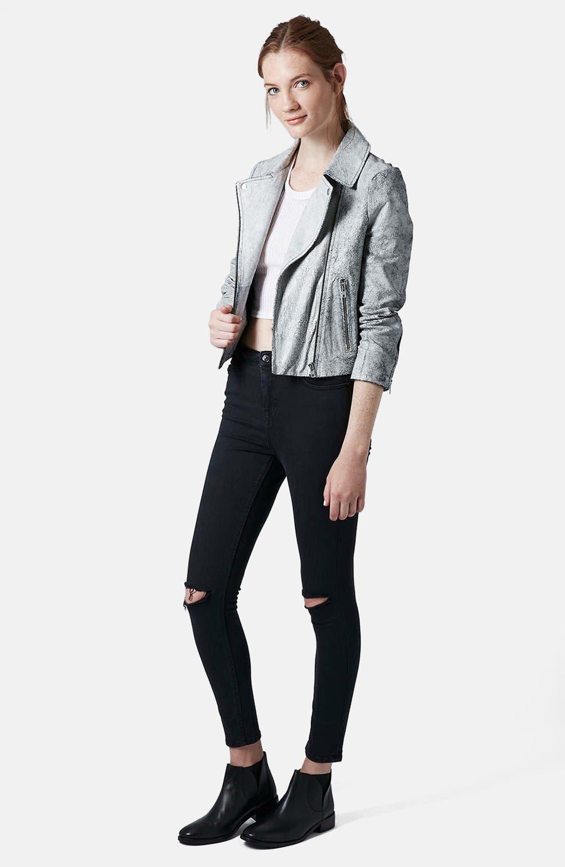 Alternate Image 5  - Topshop Moto 'Jamie' Dark Wash Ripped Slim Jeans (Black) (Short & Regular)