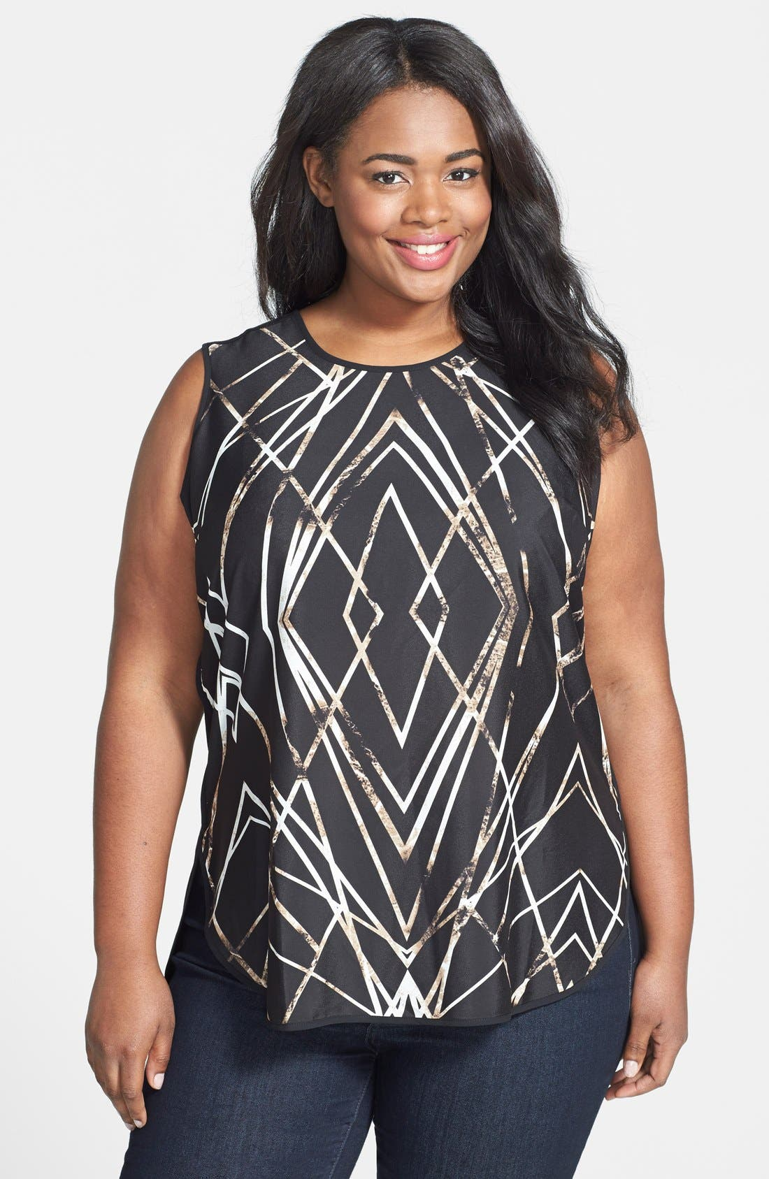 Main Image - Vince Camuto 'Modern Web' Sleeveless Top (Plus Size)