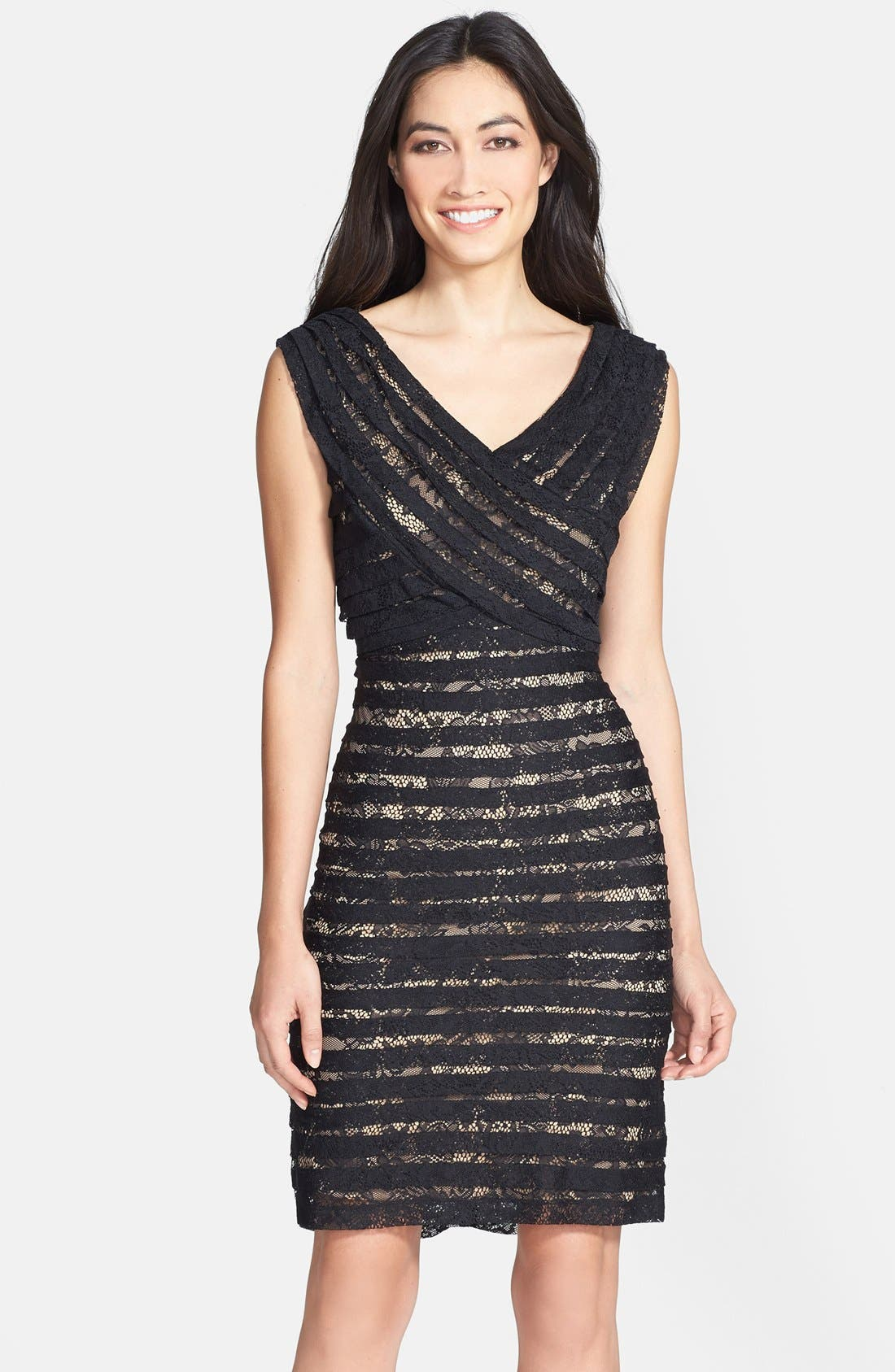 Main Image - Adrianna Papell Crossover Bodice Banded Lace Dress