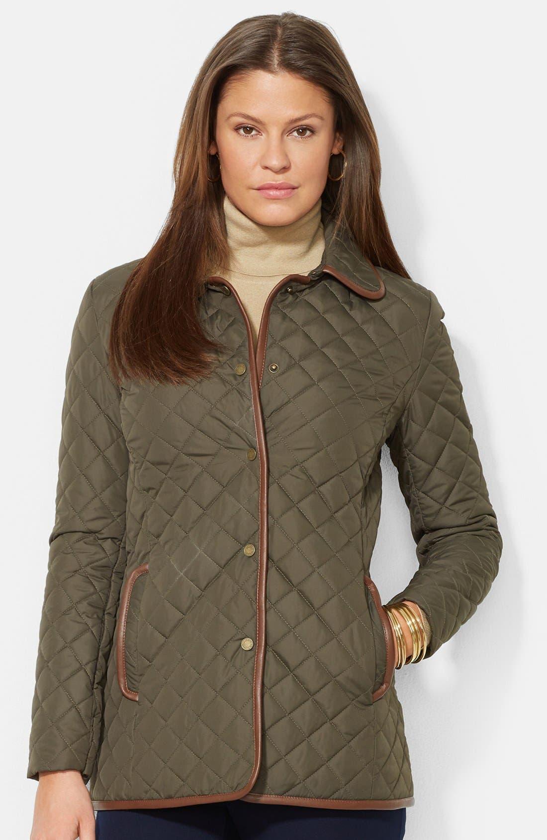 Alternate Image 1 Selected - Lauren Ralph Lauren Faux Leather Trim Quilted Jacket