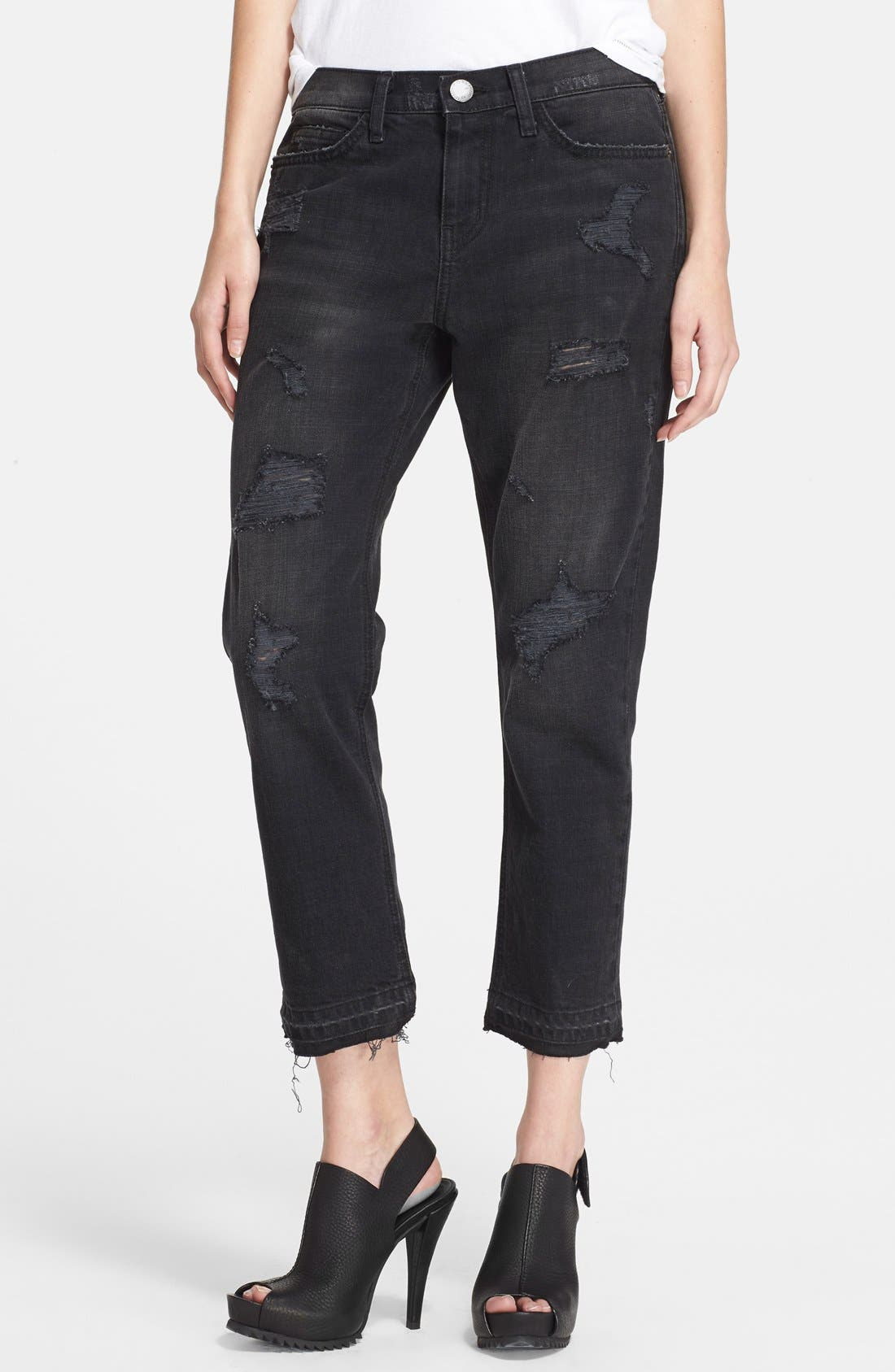 Alternate Image 1 Selected - Current/Elliott 'The Cropped Straight' Destroyed Jeans (Townhouse Destroy) (Nordstrom Exclusive)