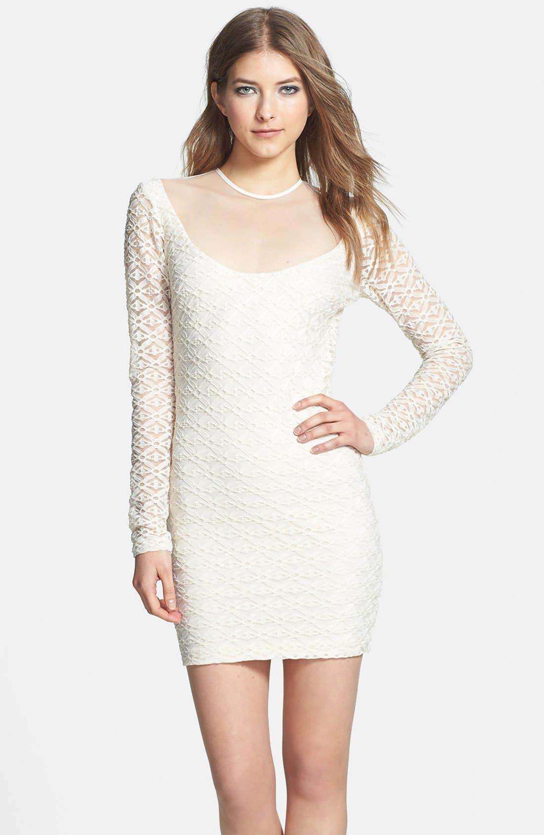 Main Image - Dress the Population 'Jessica' Textured Metallic Body-Con Dress
